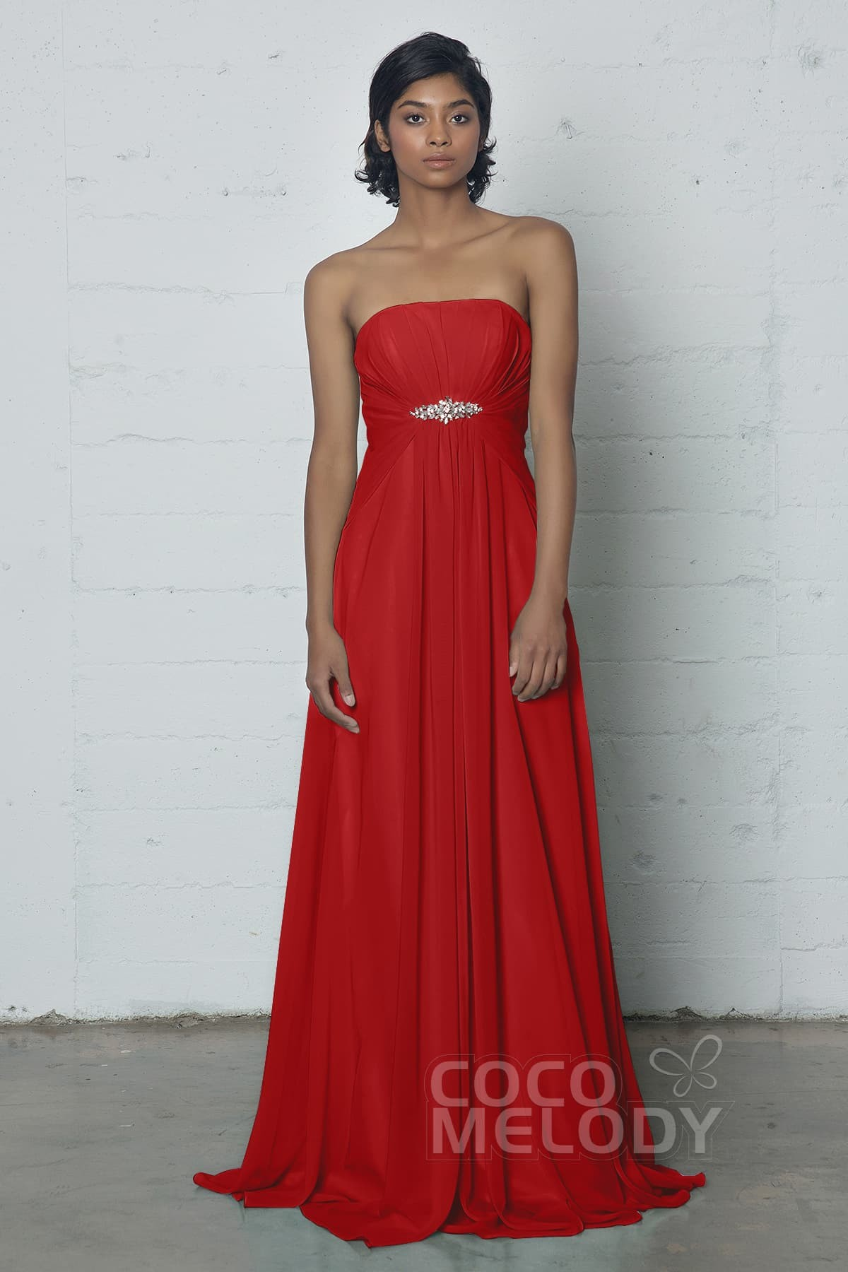 Empire waist red wedding dress