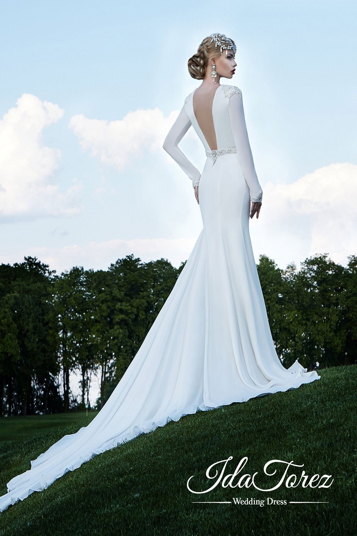 Cocomelody: Trumpet-Mermaid Court Train Stretch Satin Wedding Dress ...