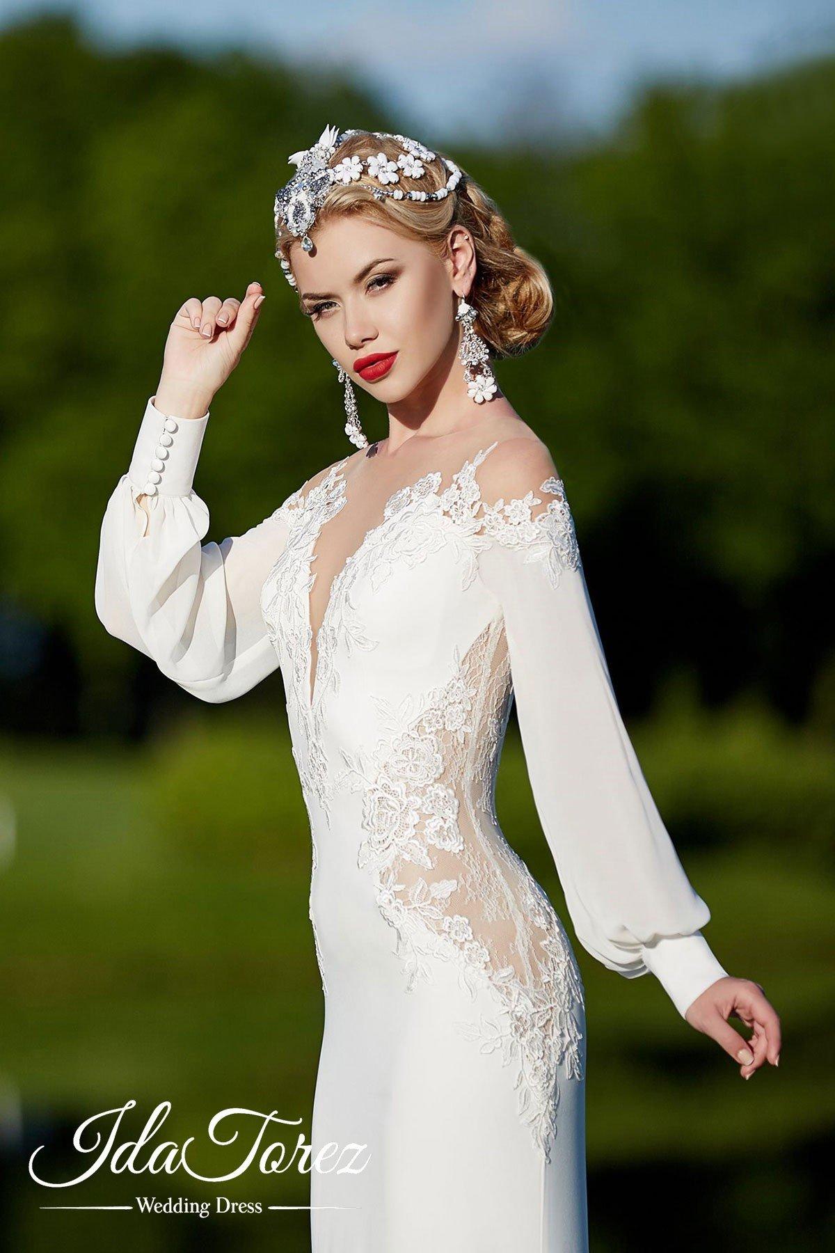 Trumpet-Mermaid Train Stretch Crepe Wedding Dress 01013 | Cocomelody