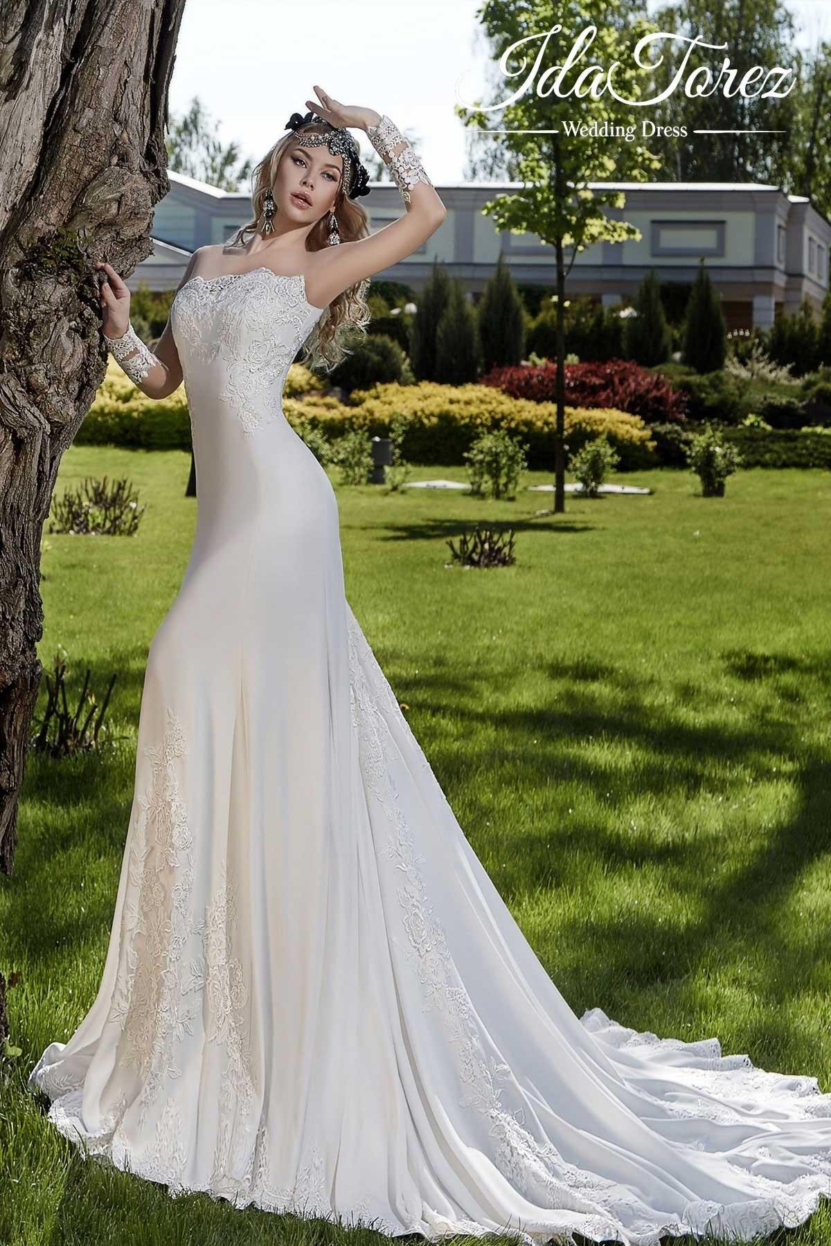 Trumpet-Mermaid Train Stretch Crepe Wedding Dress 01026   Cocomelody