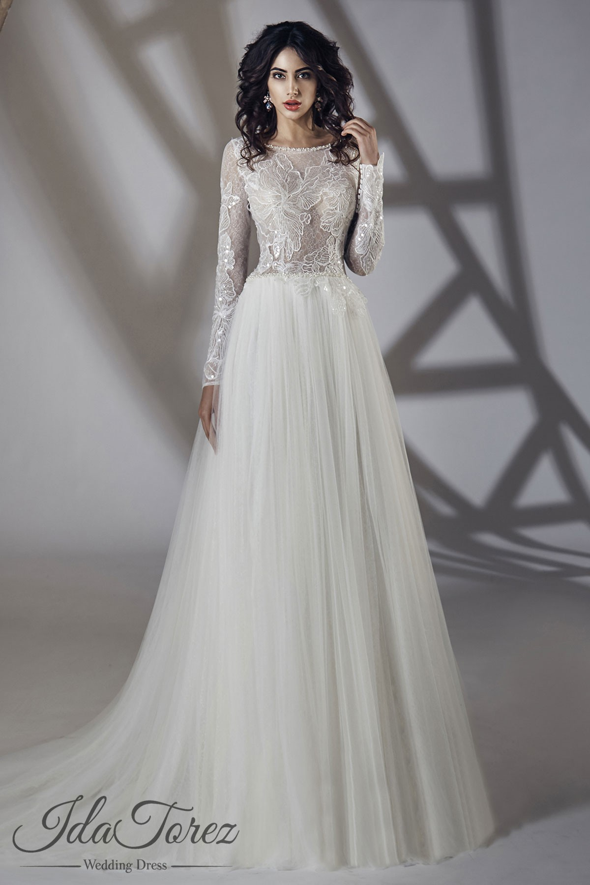 A line sweep brush train tulle wedding dress 01061 cocomelody luxurious a line bateau natural sweep brush train tulle ivory long sleeve zipper with buttons wedding dress beading sequins 01061 junglespirit Gallery