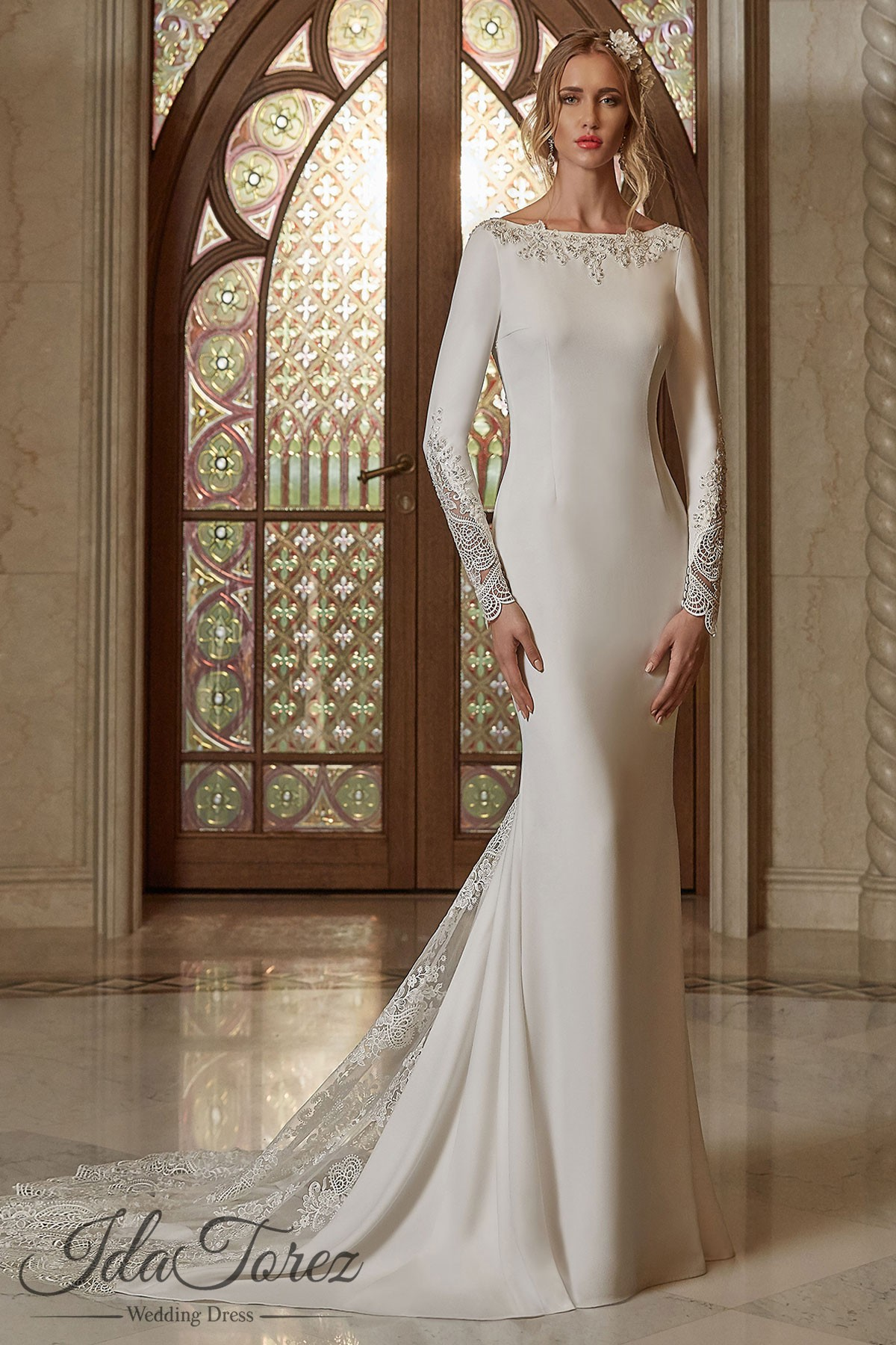Cocomelody: Trumpet-Mermaid Court Train Stretch Crepe Wedding Dress ...