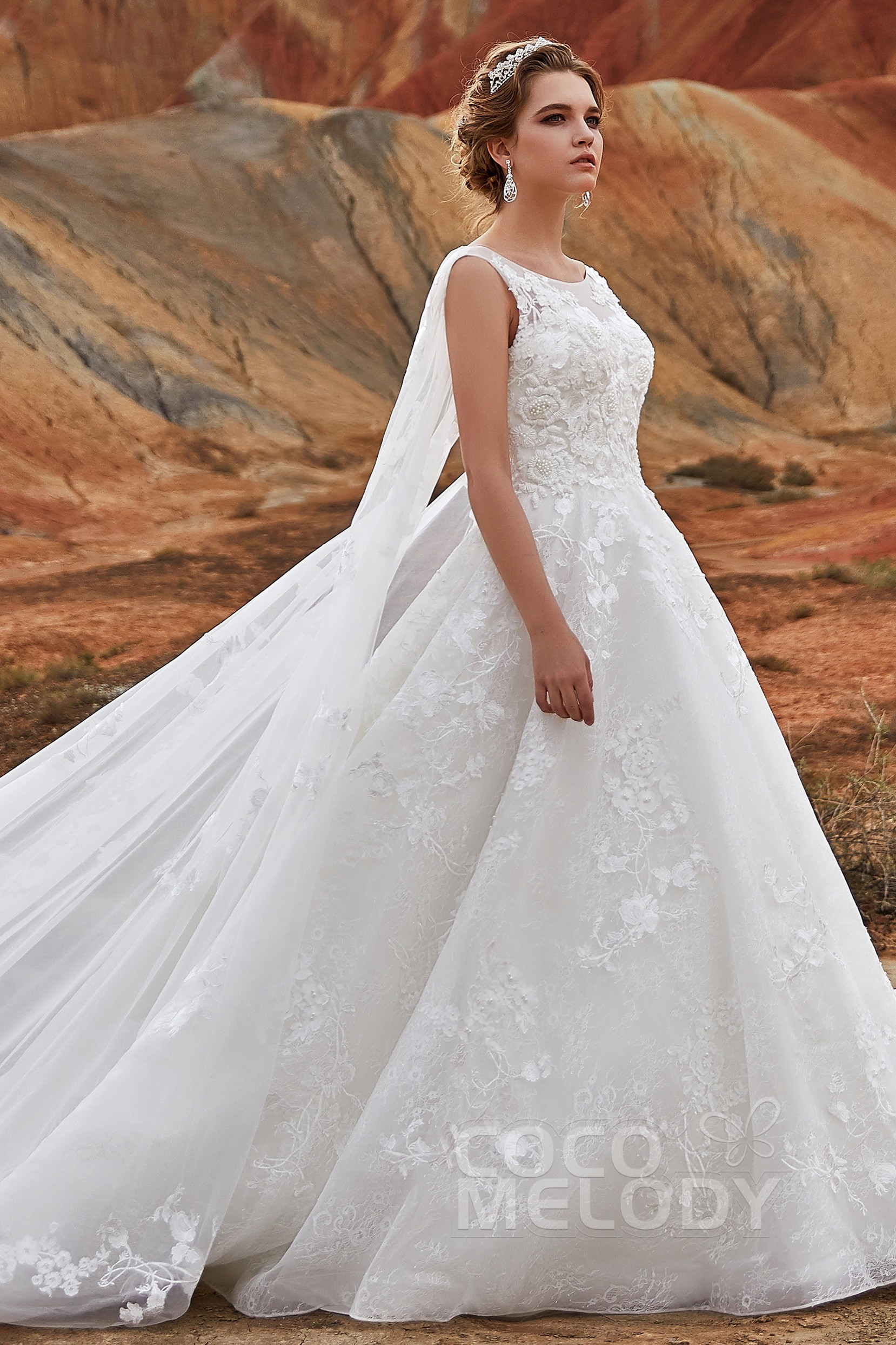 70b7240d952 Charming Natural Cathedral Train Lace Wedding Dress LD5766