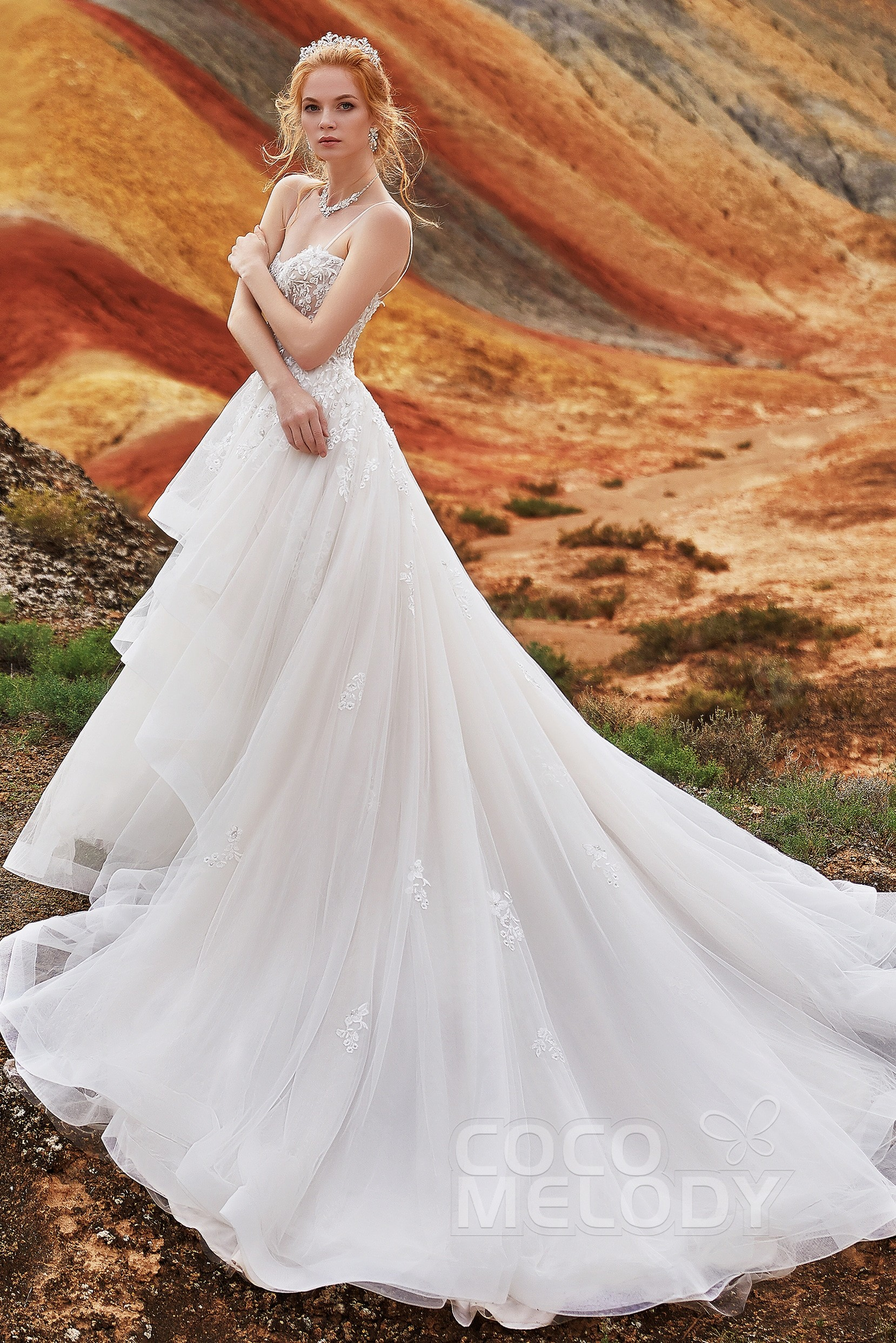 A Line Chapel Train Tulle And Lace Wedding Dress Ld5814