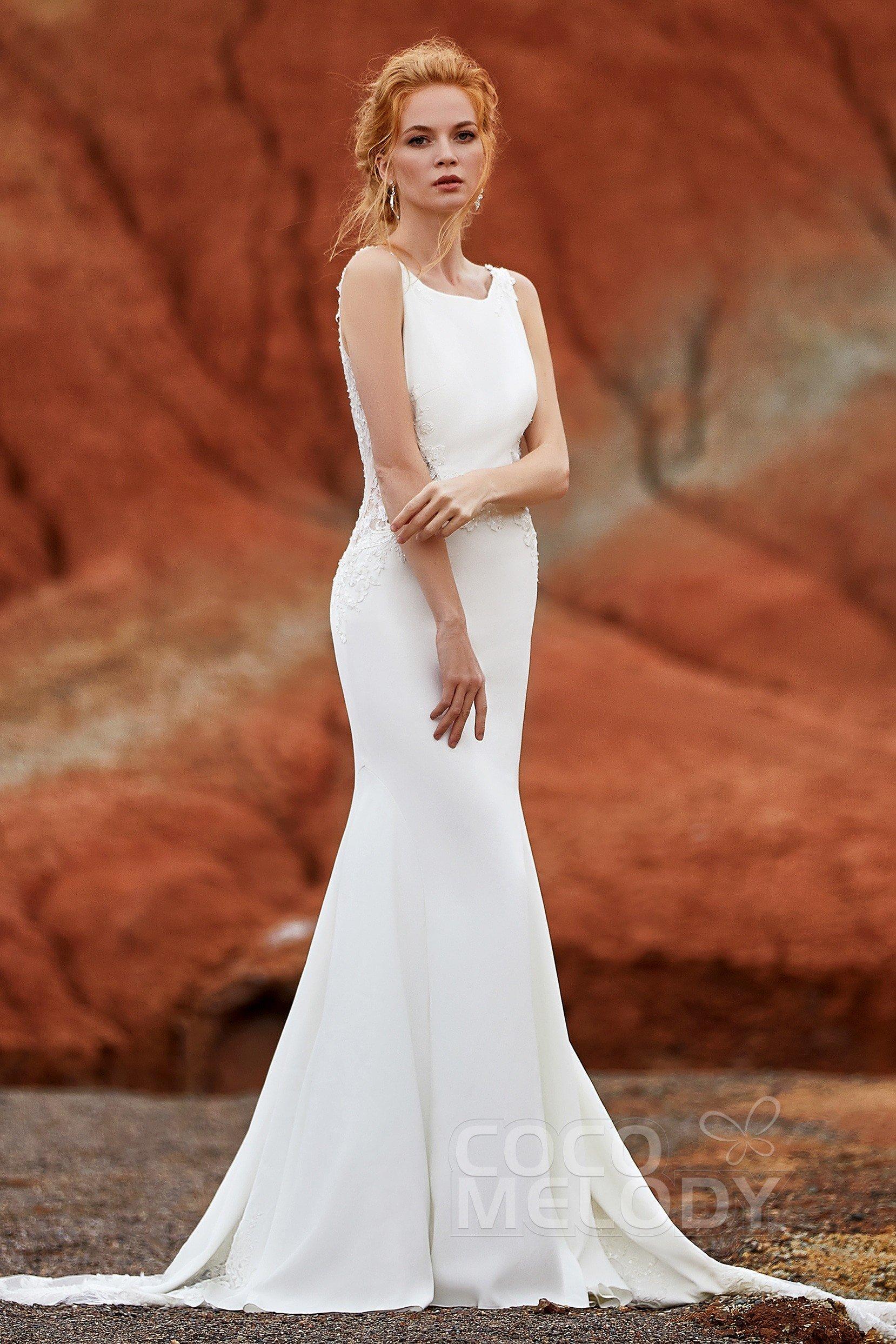 73ff58f672e Trumpet-Mermaid Court Train Knitted Fabric Wedding Dress LD5818