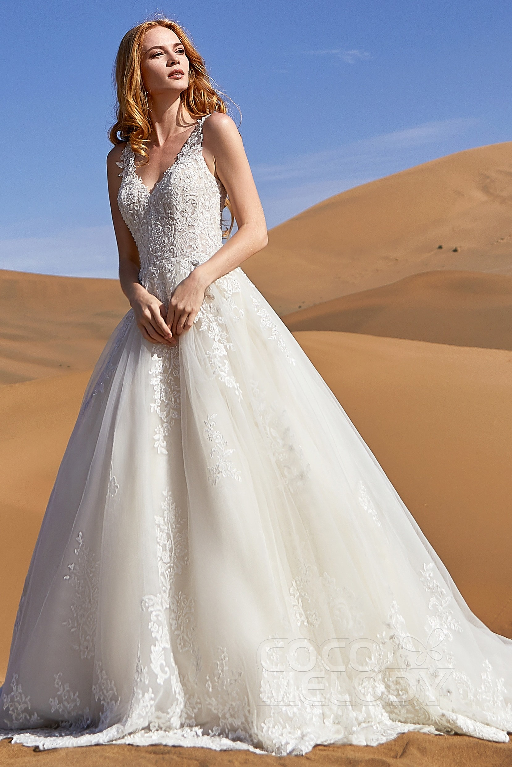 5c2955a09a994 A-Line Court Train Tulle and Lace Wedding Dress LD5813