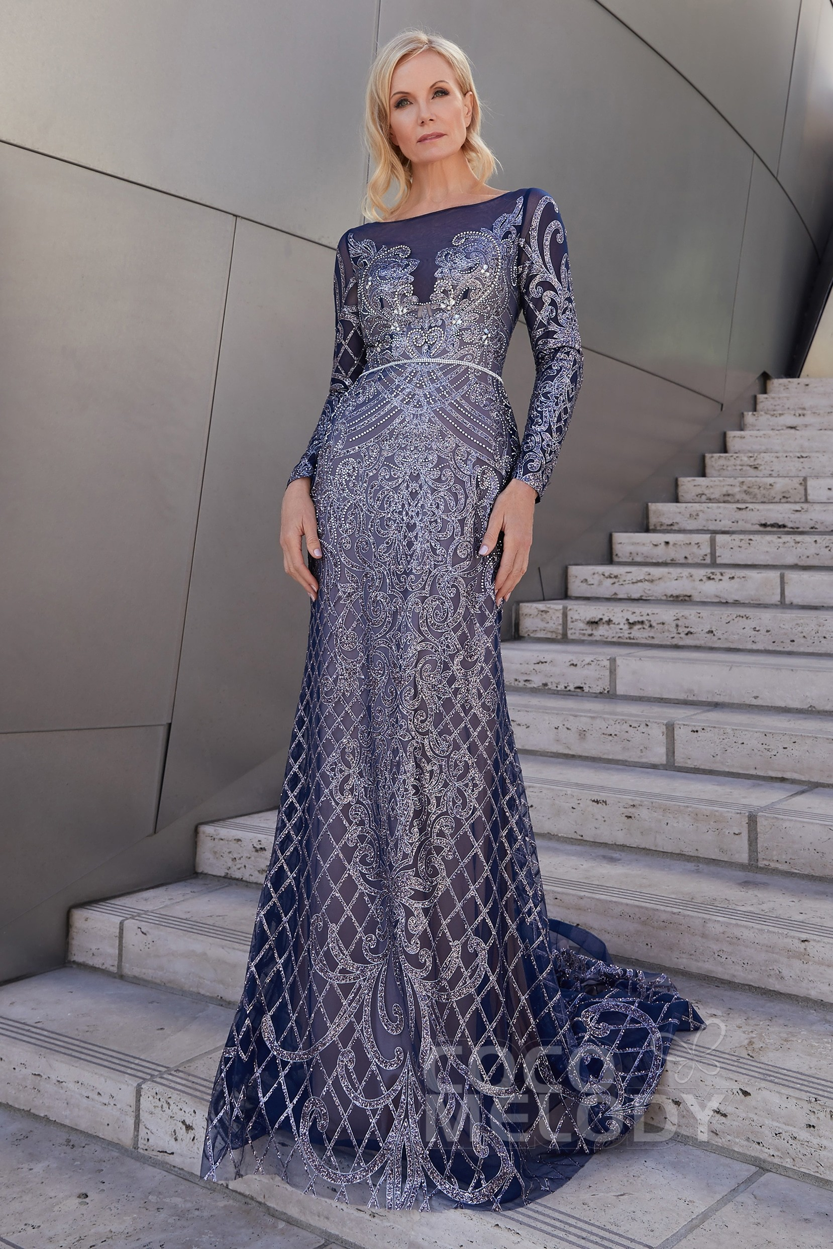 d74bda4577ce Trumpet-Mermaid Sweep-Brush Train Lace and Knitted Fabric Dress PR3619