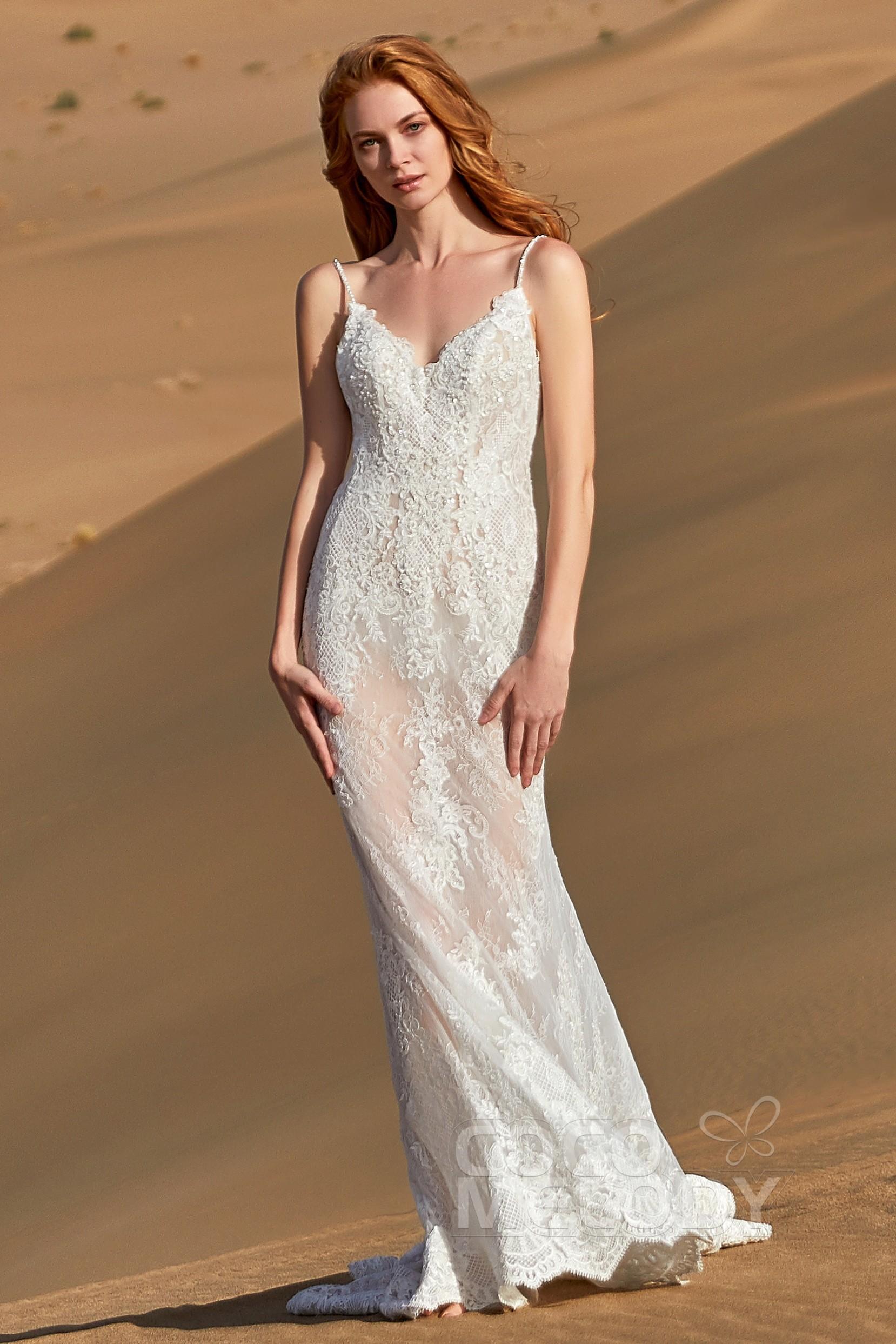 812dff5e23ce Romantic Spaghetti Strap Sleeveless Wedding Dress LD5807 | Cocomelody