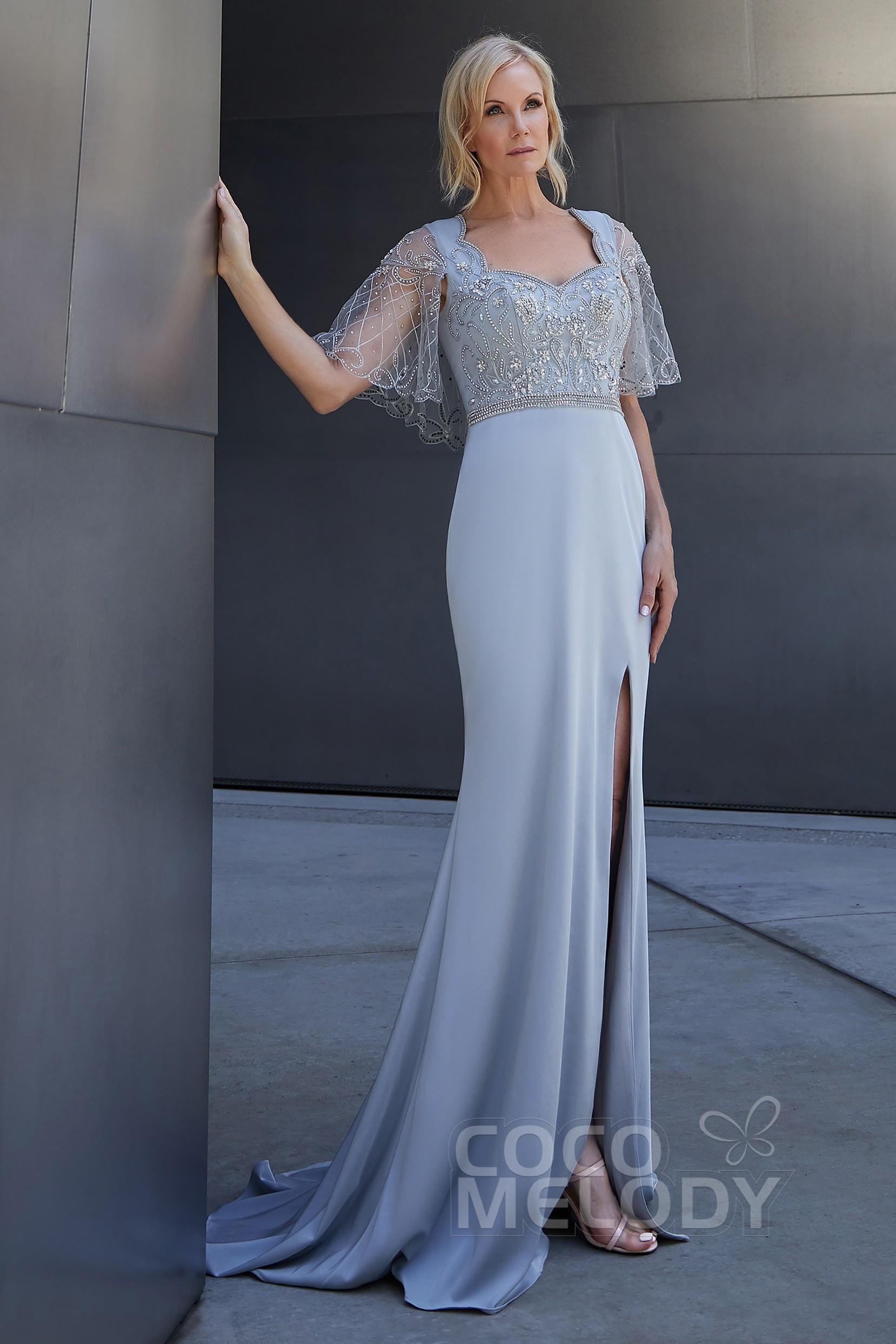 546979485289 Trumpet-Mermaid Sweep-Brush Train Stretch hemp and Knitted Fabric Dress  PR3617