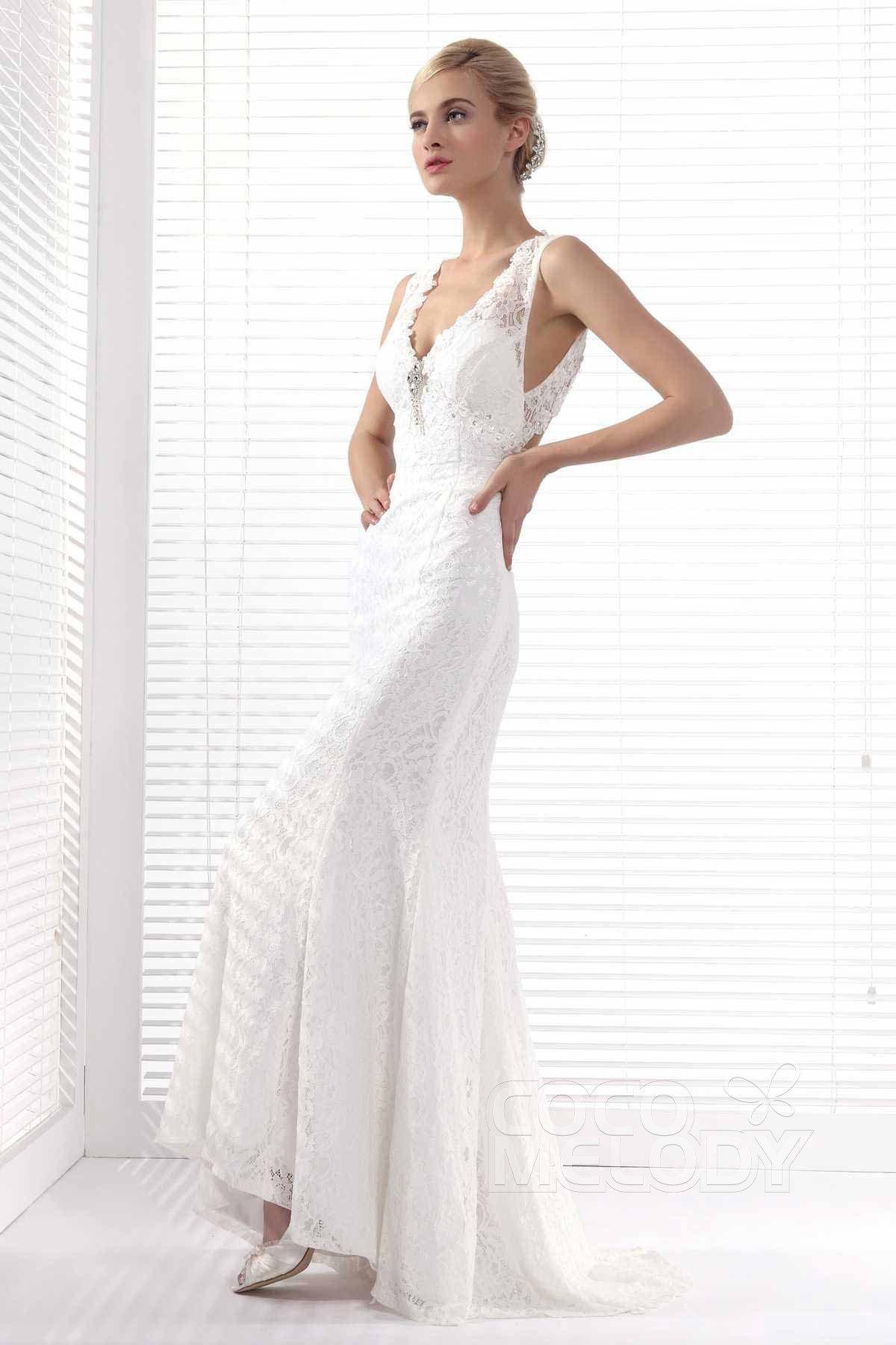 Sheath-Column Train Lace Wedding Dress ALB12301 | Cocomelody