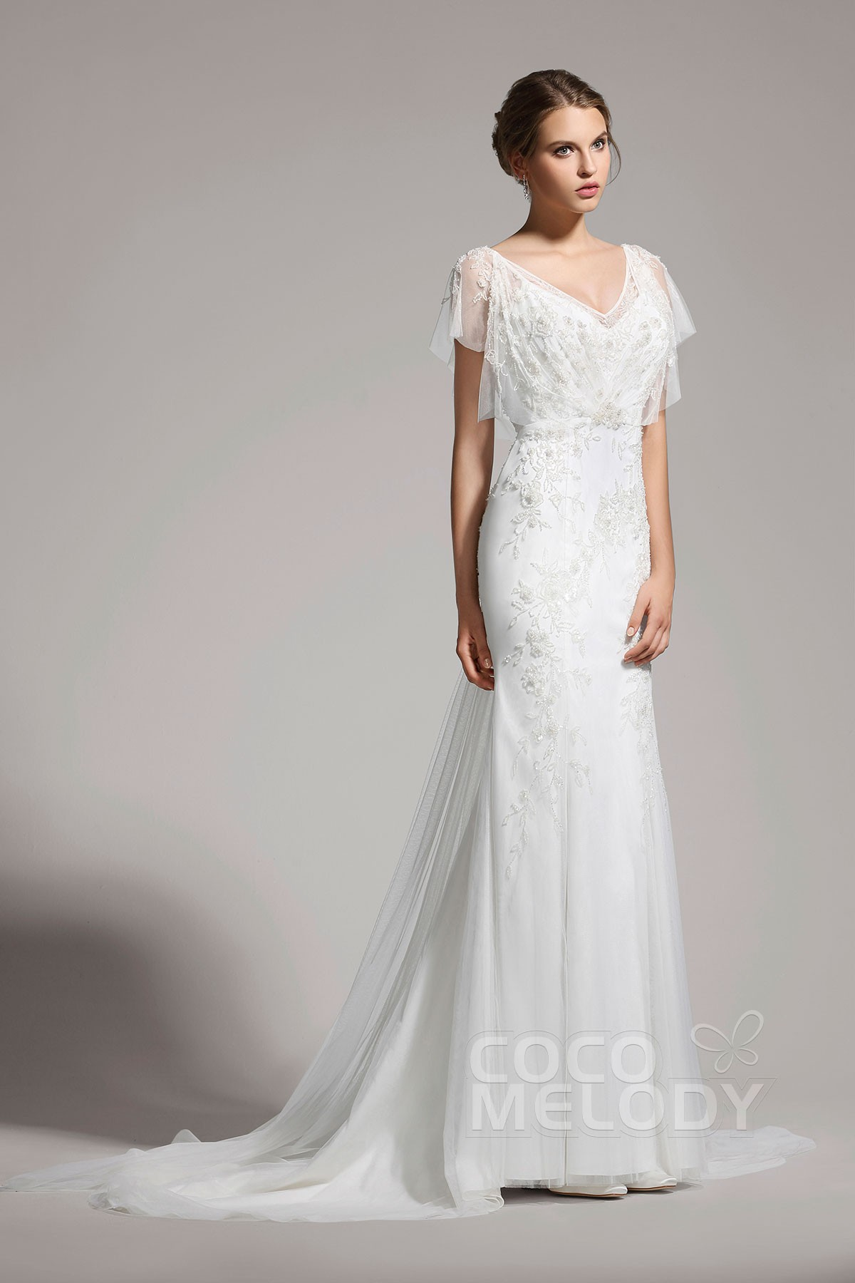Delicate Sheath Column V Neck Tulle Ivory Cap Sleeve Wedding Dress With Beading Awvt15001