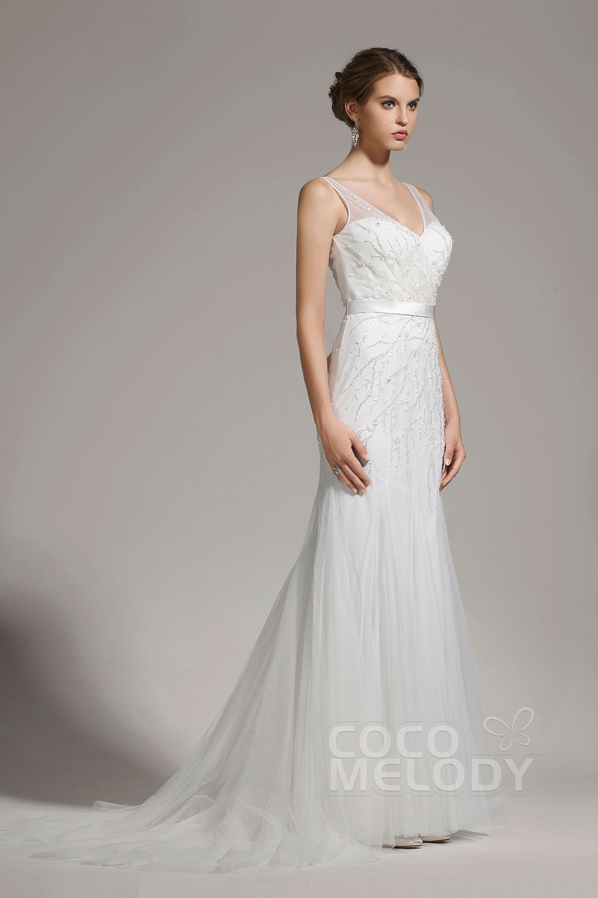 Sheath Column Tulle Sleeveless Wedding Dress Awzt15002 Cocomelody