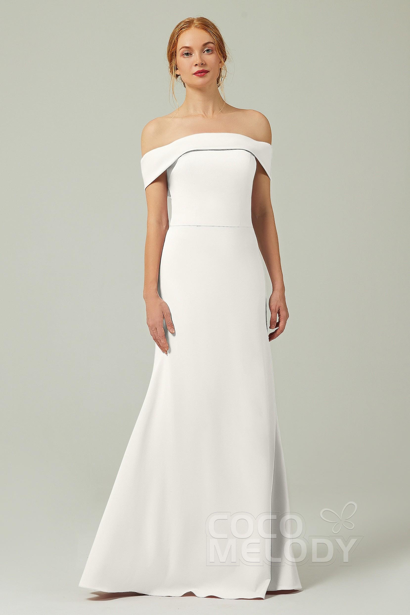 Elegant Off Shoulder Knitted Zipper Buttons Wedding Dress Cb0346