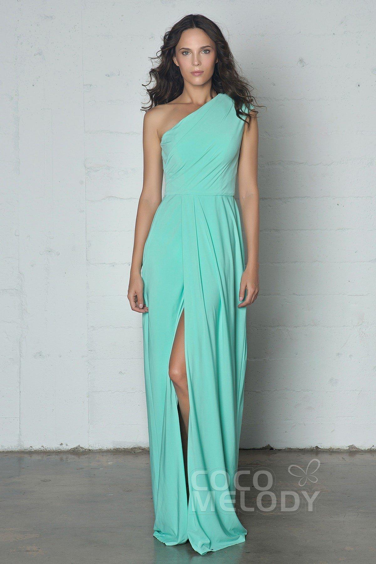 6c525c7fd59 Sheath-Column Knitted Fabric Floor Length Dress COZF17010
