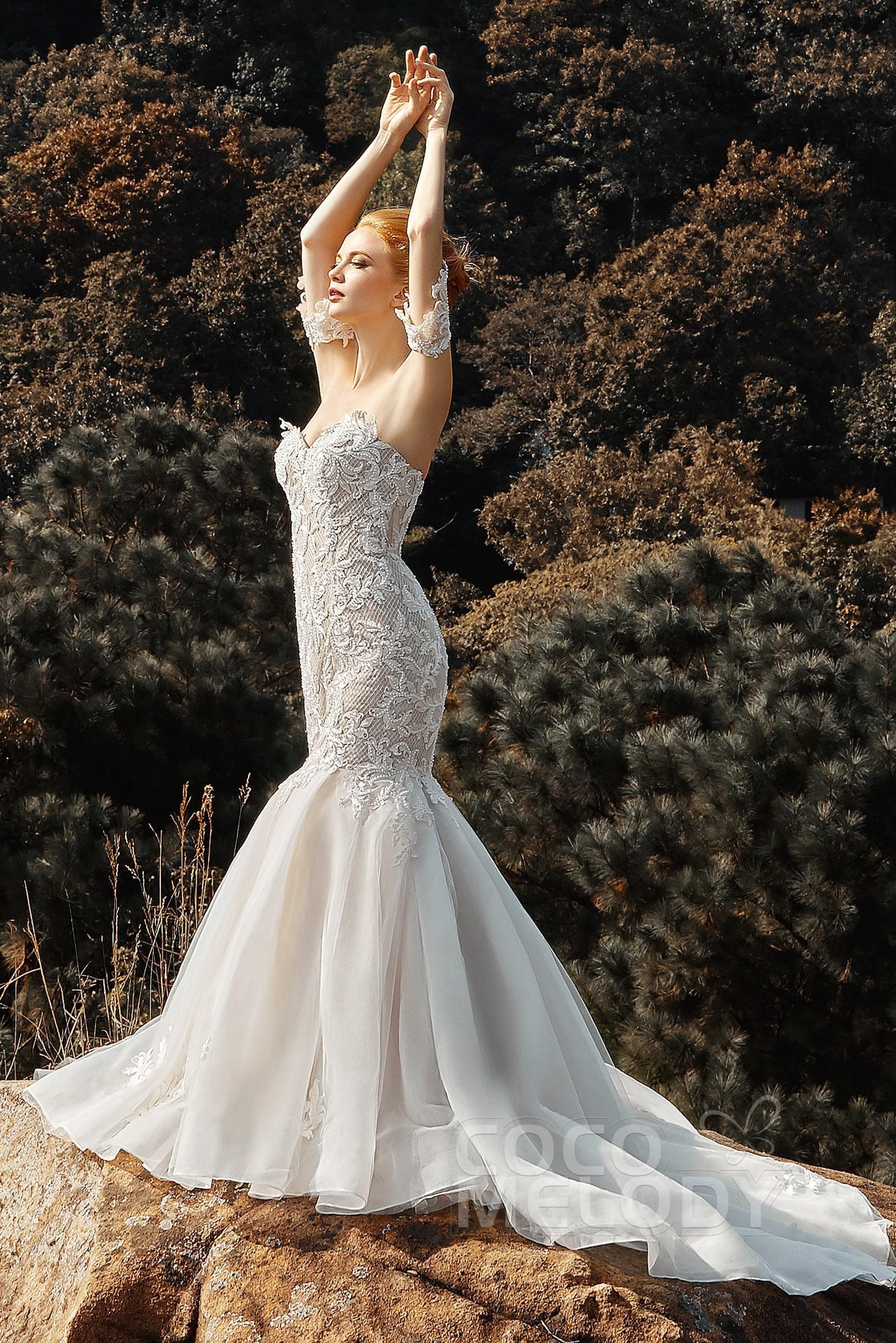 Trumpet Sweetheart Court Train Tulle Sleeveless Wedding ...