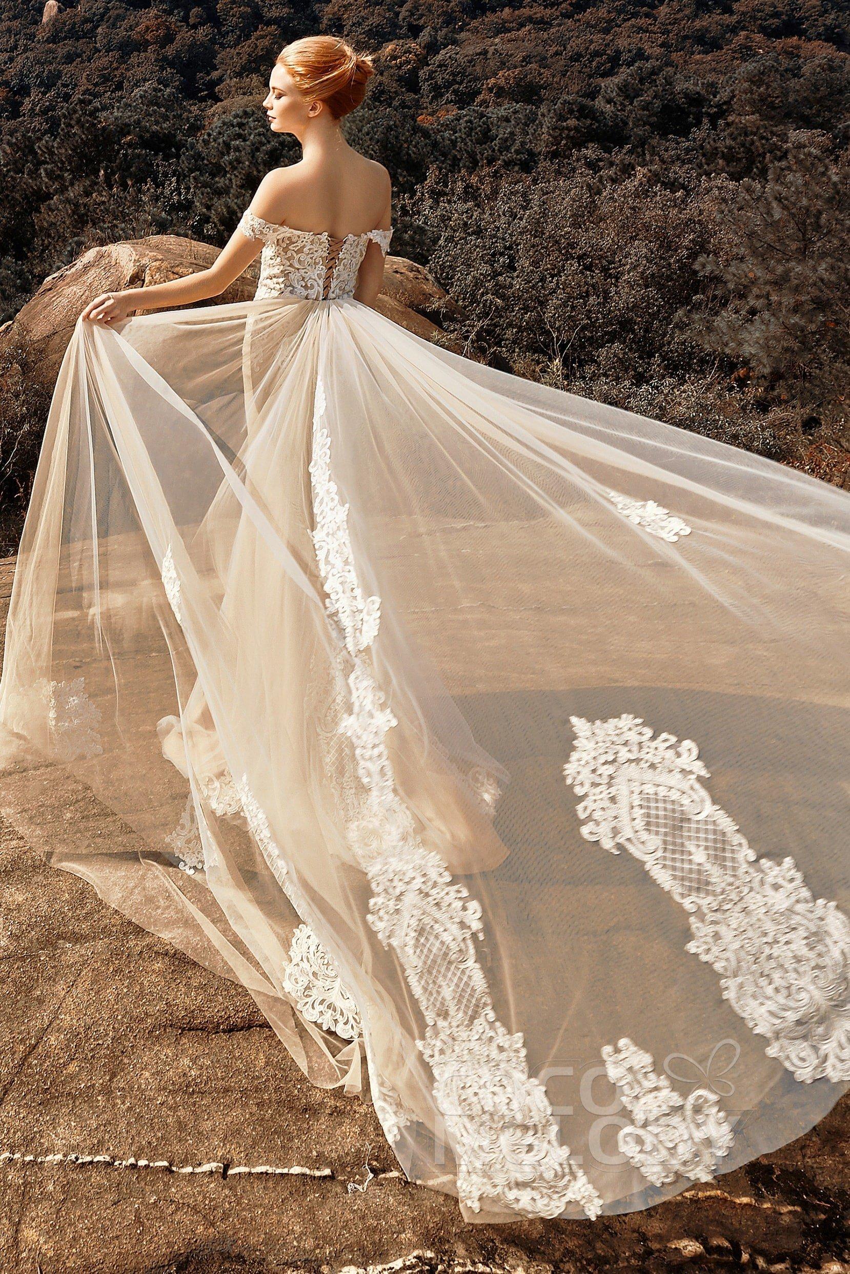 Trumpet Chapel Train Tulle Lace Up-Corset Wedding Dress ...