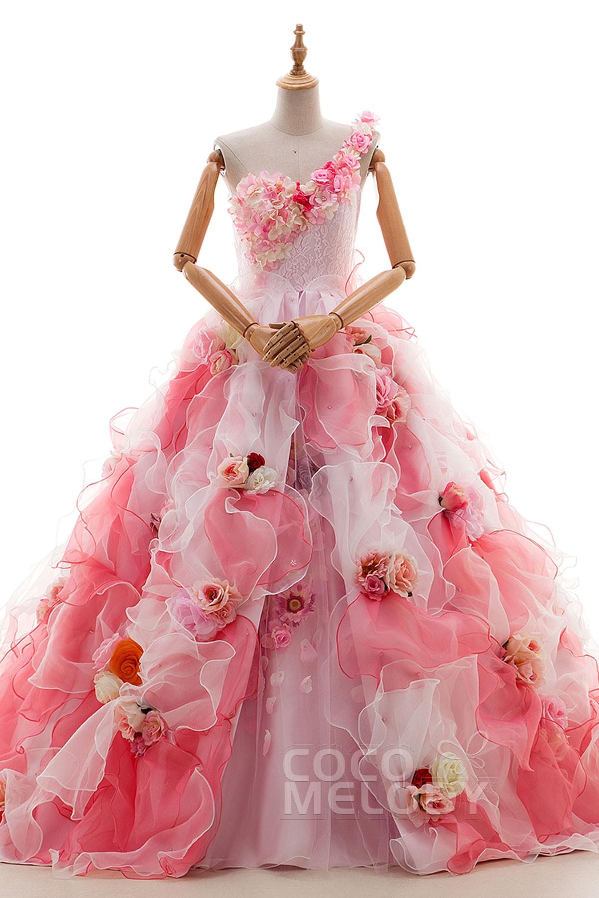 A Line Court Train Organza Wedding Dress Jp0043 Cocomelody