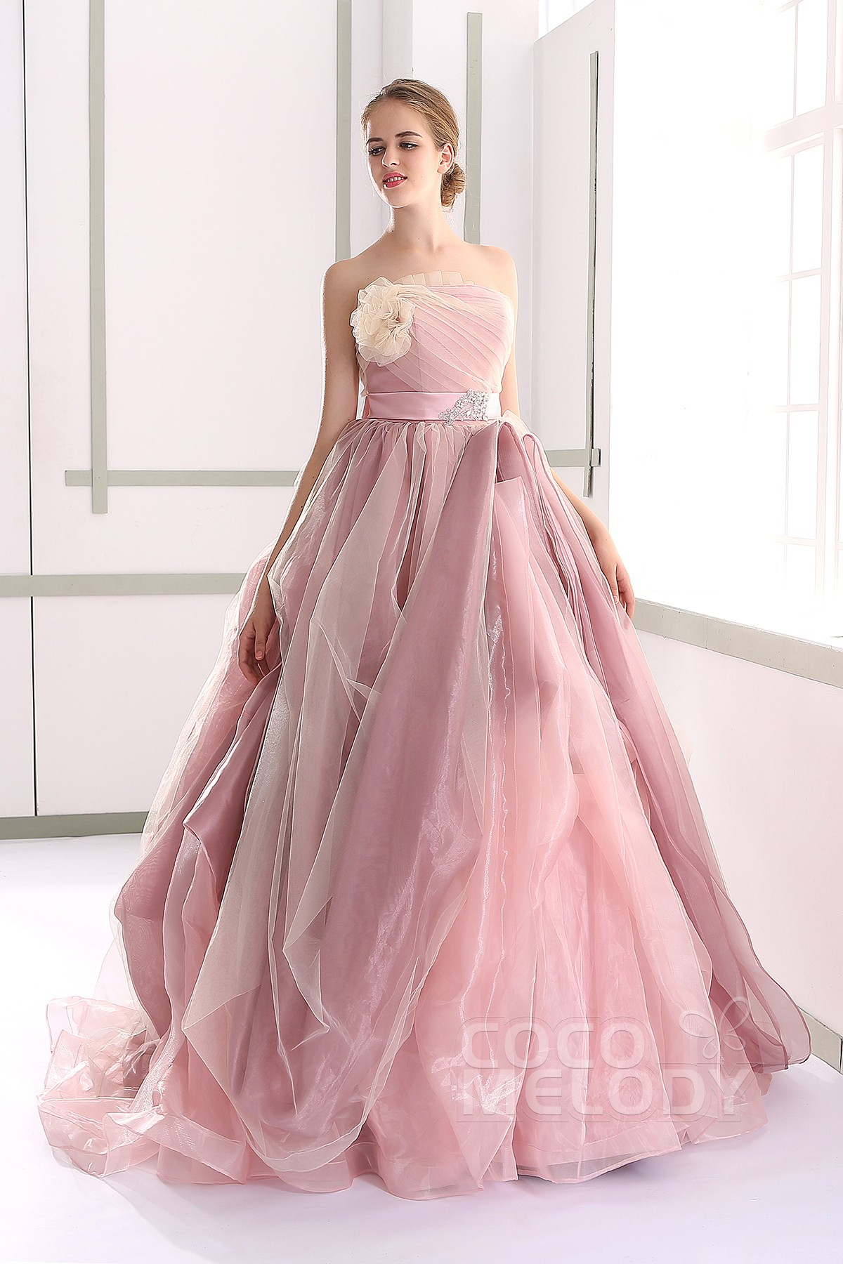 A Line Natural Tulle Sleeveless Wedding Dress Jul015002 Cocomelody