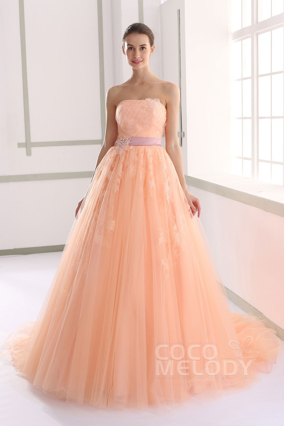 A Line Strapless Natural Tulle Wedding Dress Jux015003 Cocomelody