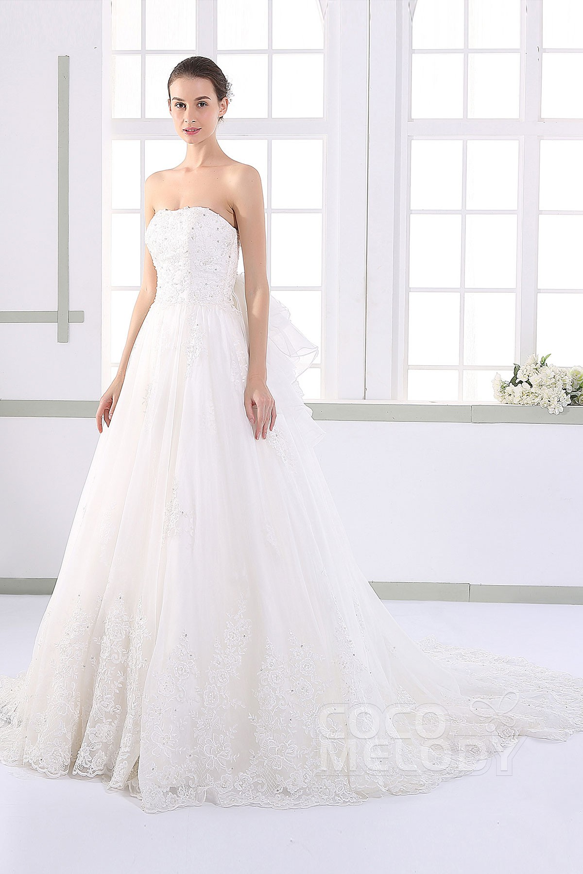 Pretty A Line Strapless Natural Court Train Tulle And Lace Ivory Sleeveless Up Corset Wedding Dress With Liques Beading Jwlt15016