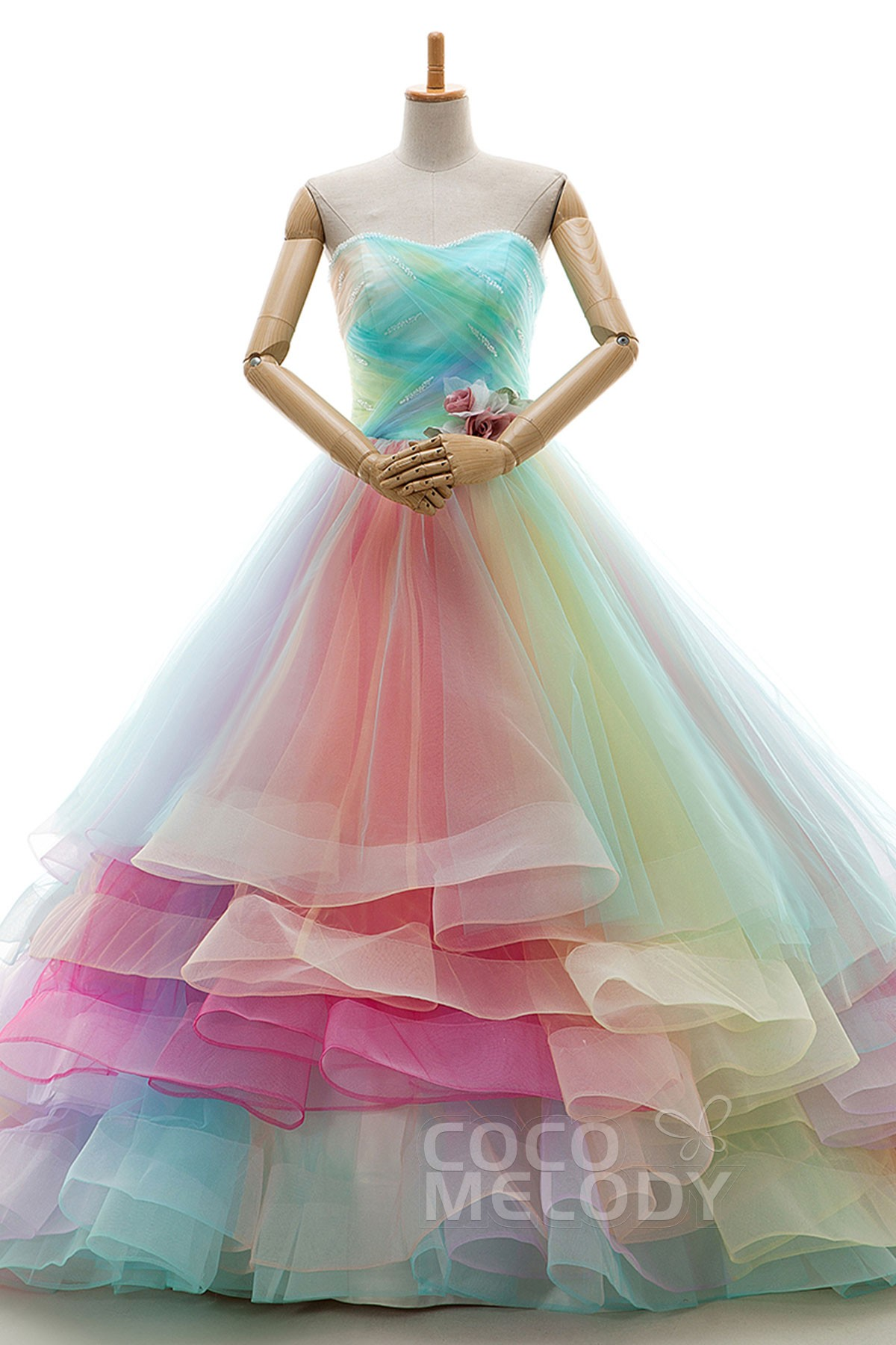 A Line Court Train Tulle Wedding Dress JWLT15067 | Cocomelody