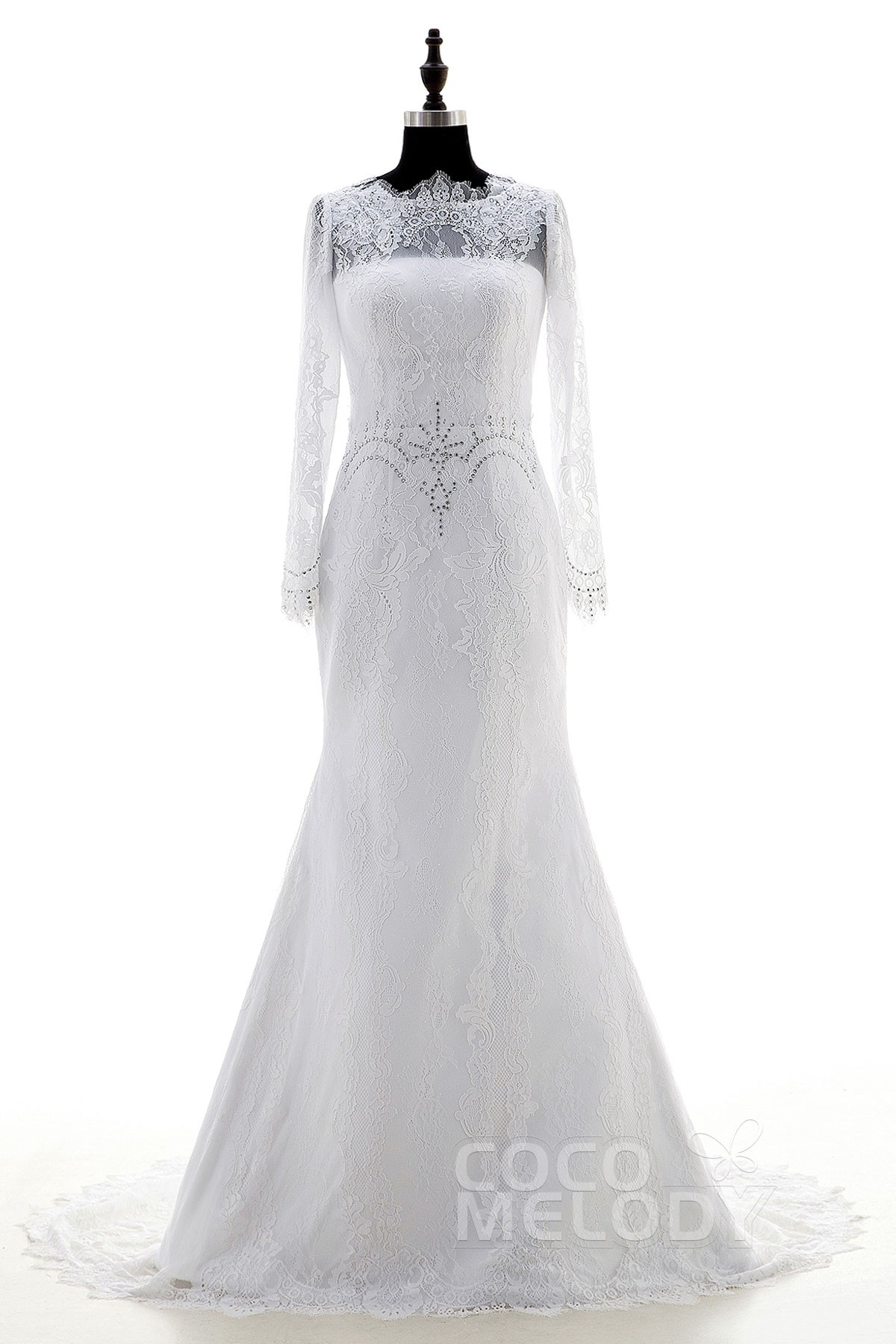 Sheath-Column Lace Long Sleeve Wedding Dress LD3876 | Cocomelody