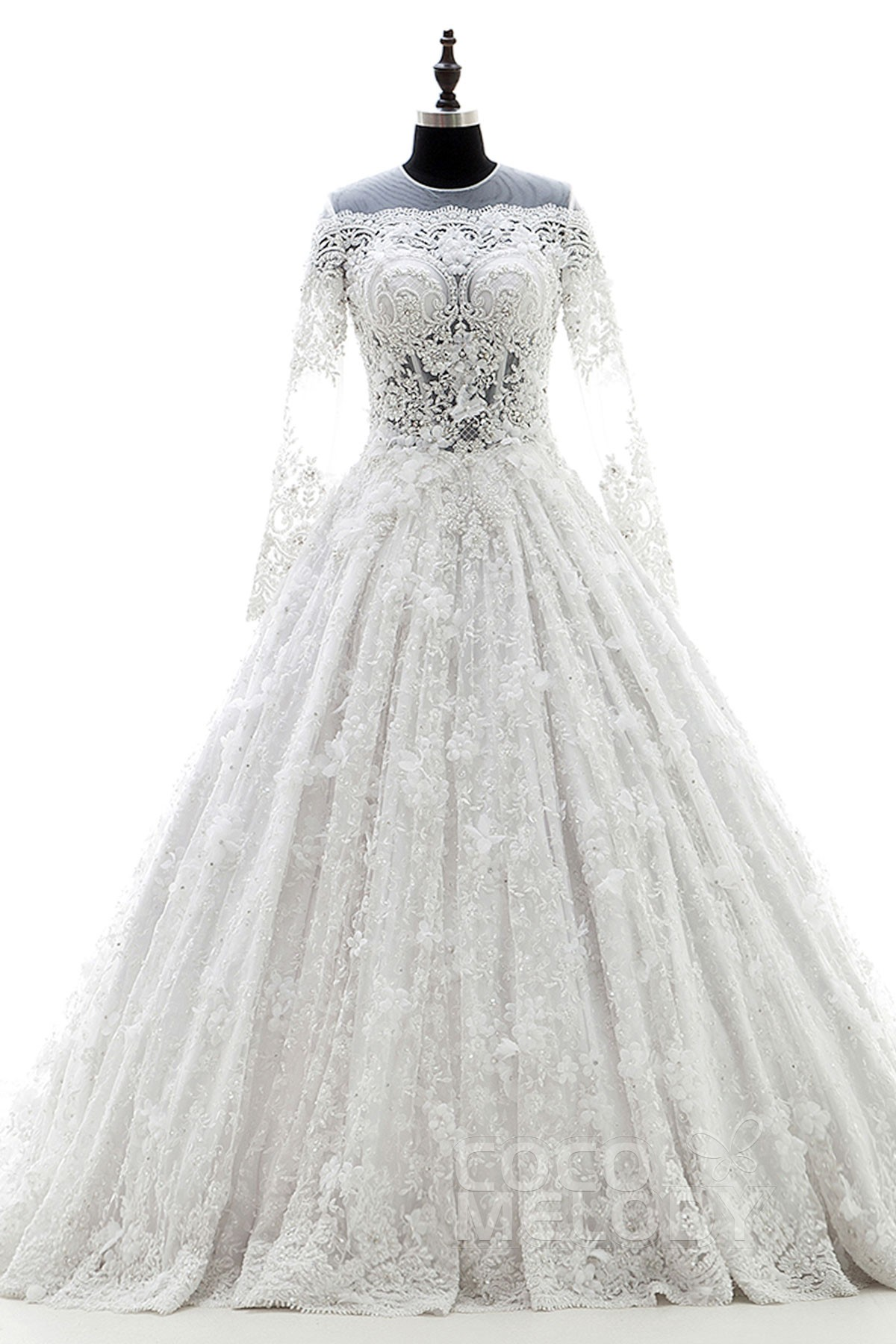 Unique A-Line Illusion Natural Chapel Train Lace White Long Sleeve Zipper With Buttons Wedding Dress Beading Flower LD3898