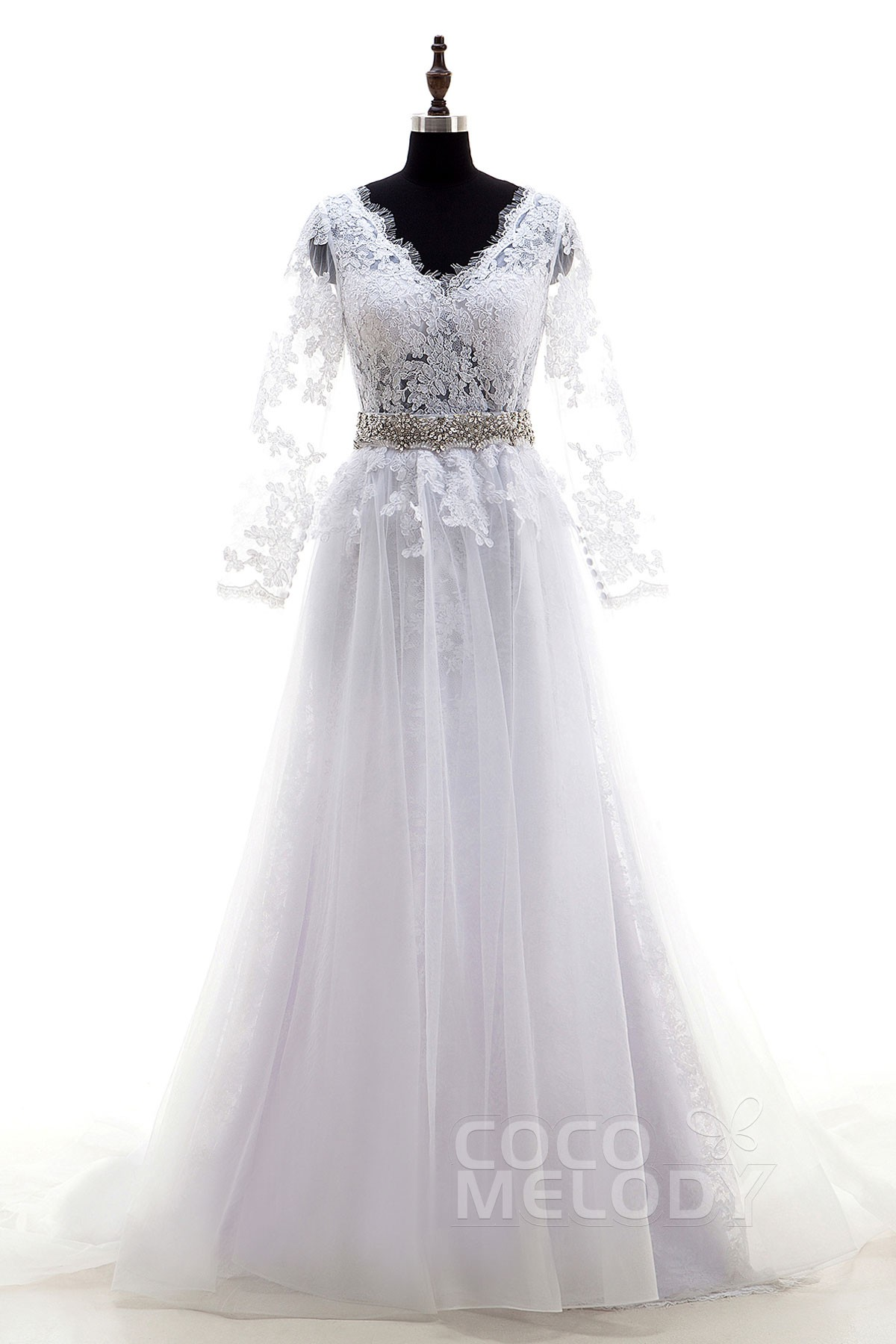 Cocomelody: A-Line Sweep-Brush Train Lace Wedding Dress Removable ...