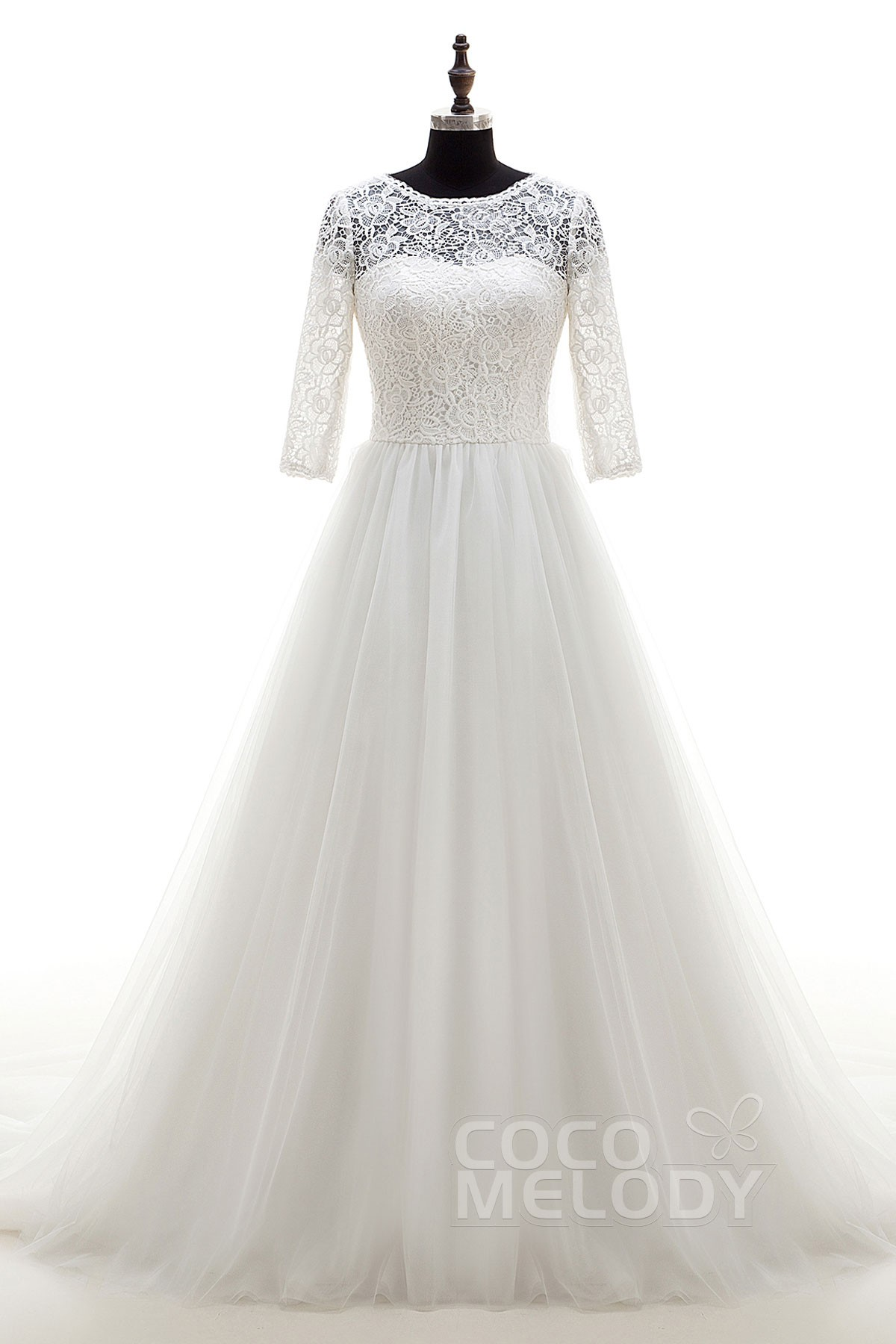 A-Line Chapel Train Tulle Wedding Dress LD4064 | Cocomelody