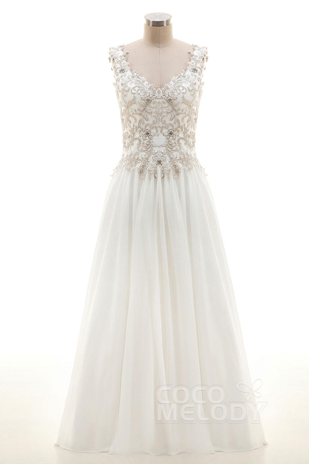 Cocomelody: Sheath-Column Floor Length Chiffon Wedding Dress with ...