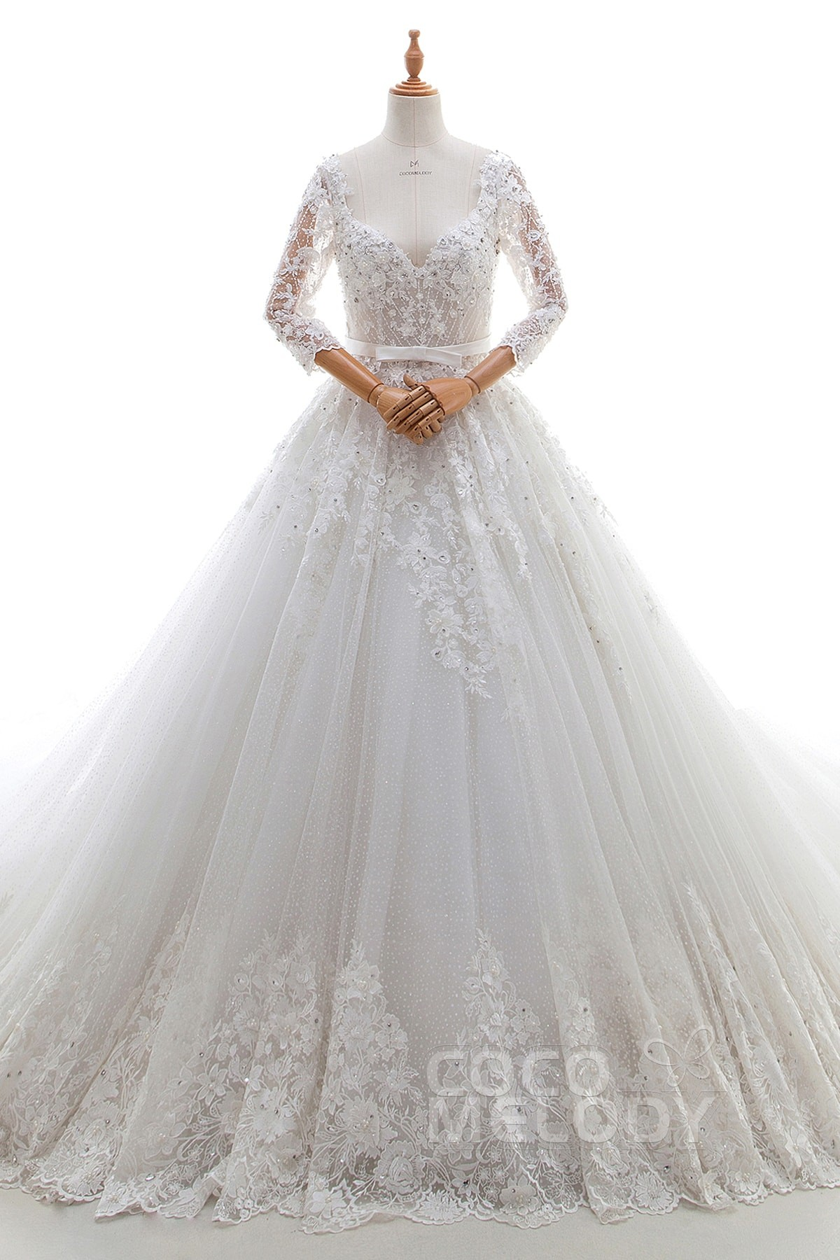 Cocomelody: A-Line Cathedral Train Lace and Tulle Wedding Dress with ...