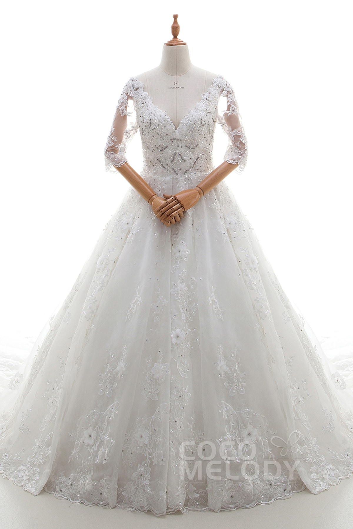 A-Line Cathedral Train Lace and Tulle Wedding Dress LD4397 | Cocomelody