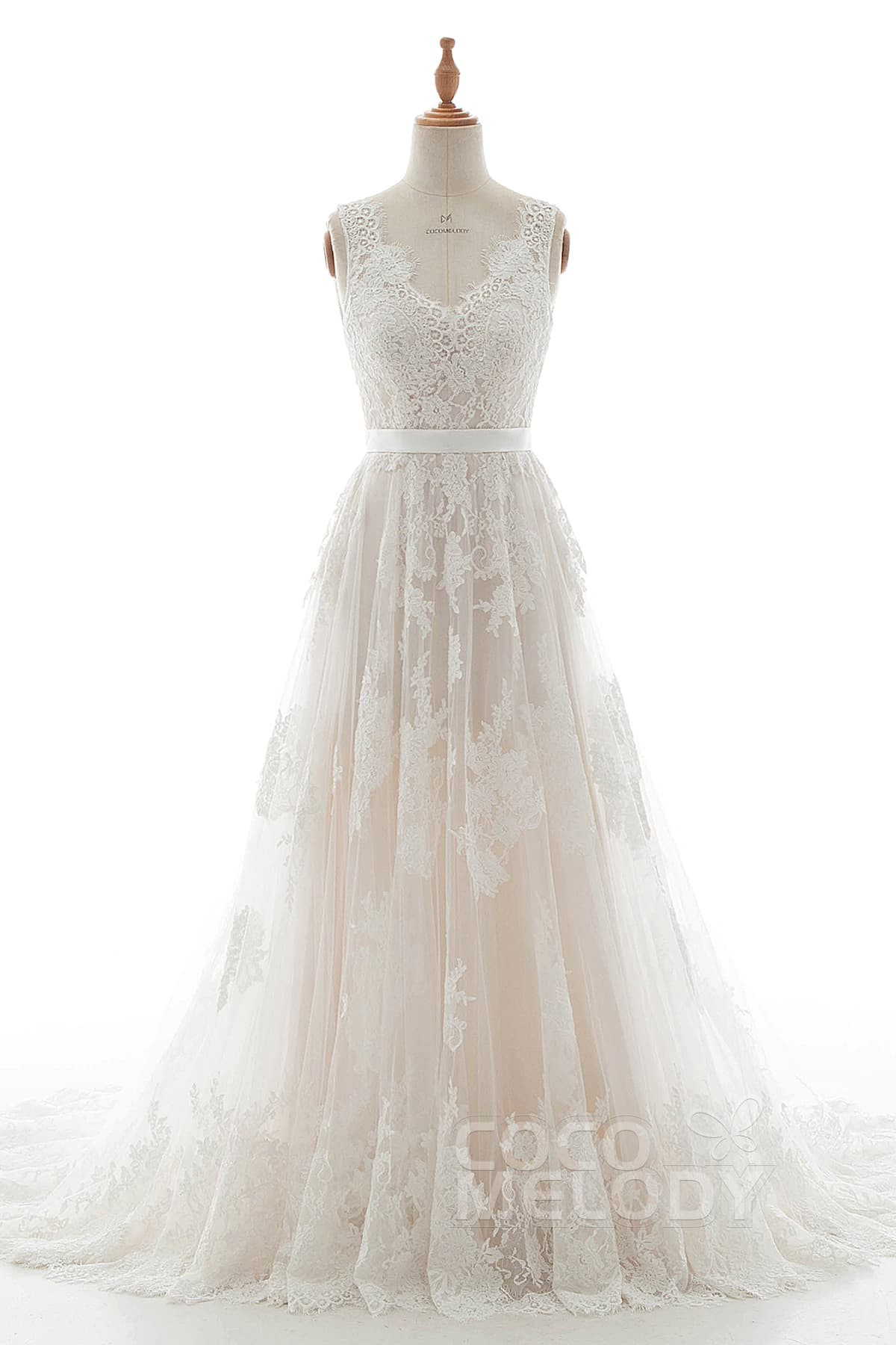 78f944212f A-Line Court Train Tulle Lace and Satin Wedding Dress LD5039