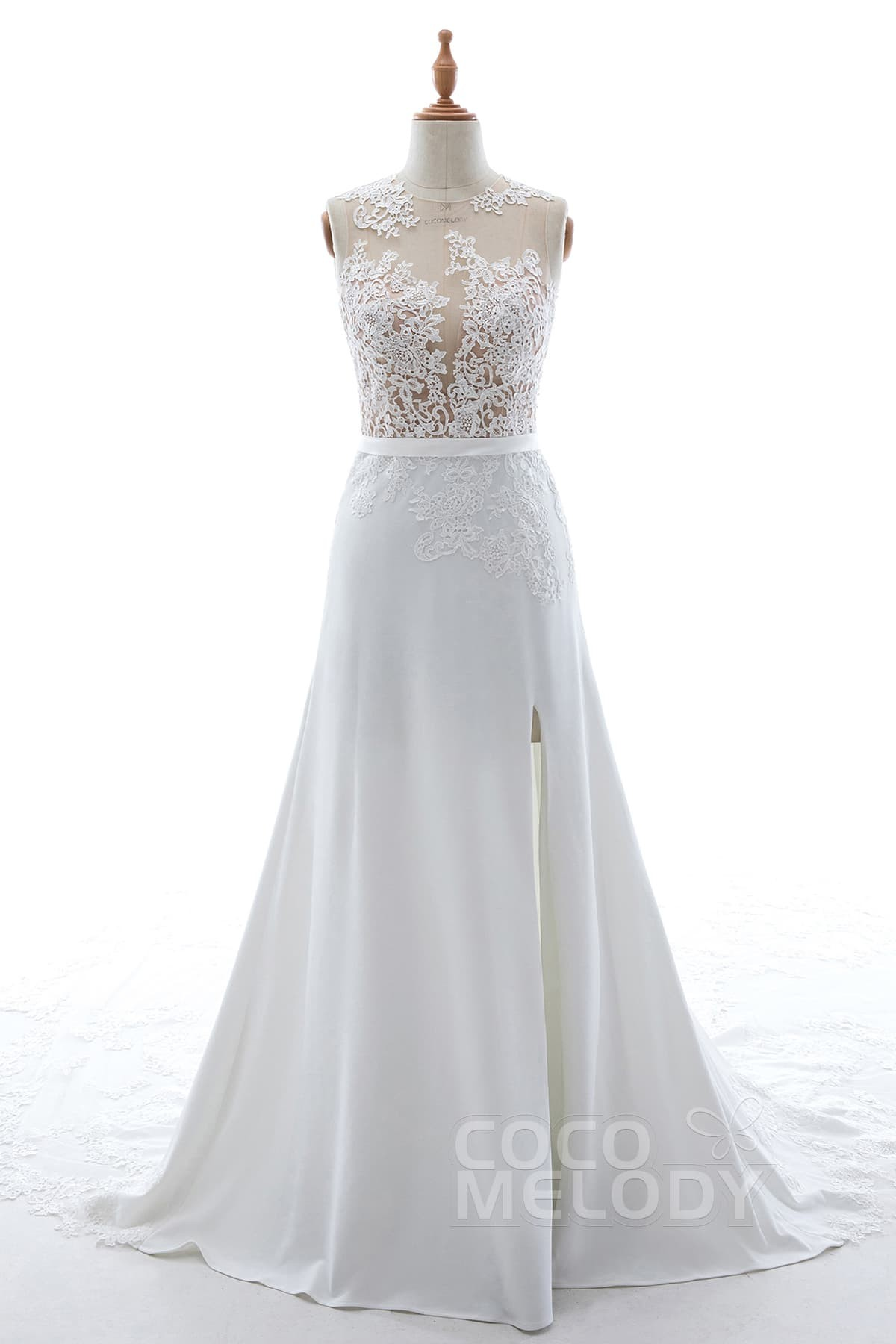 Cocomelody: A-Line Cathedral Train Knitted Fabric and Tulle Wedding ...