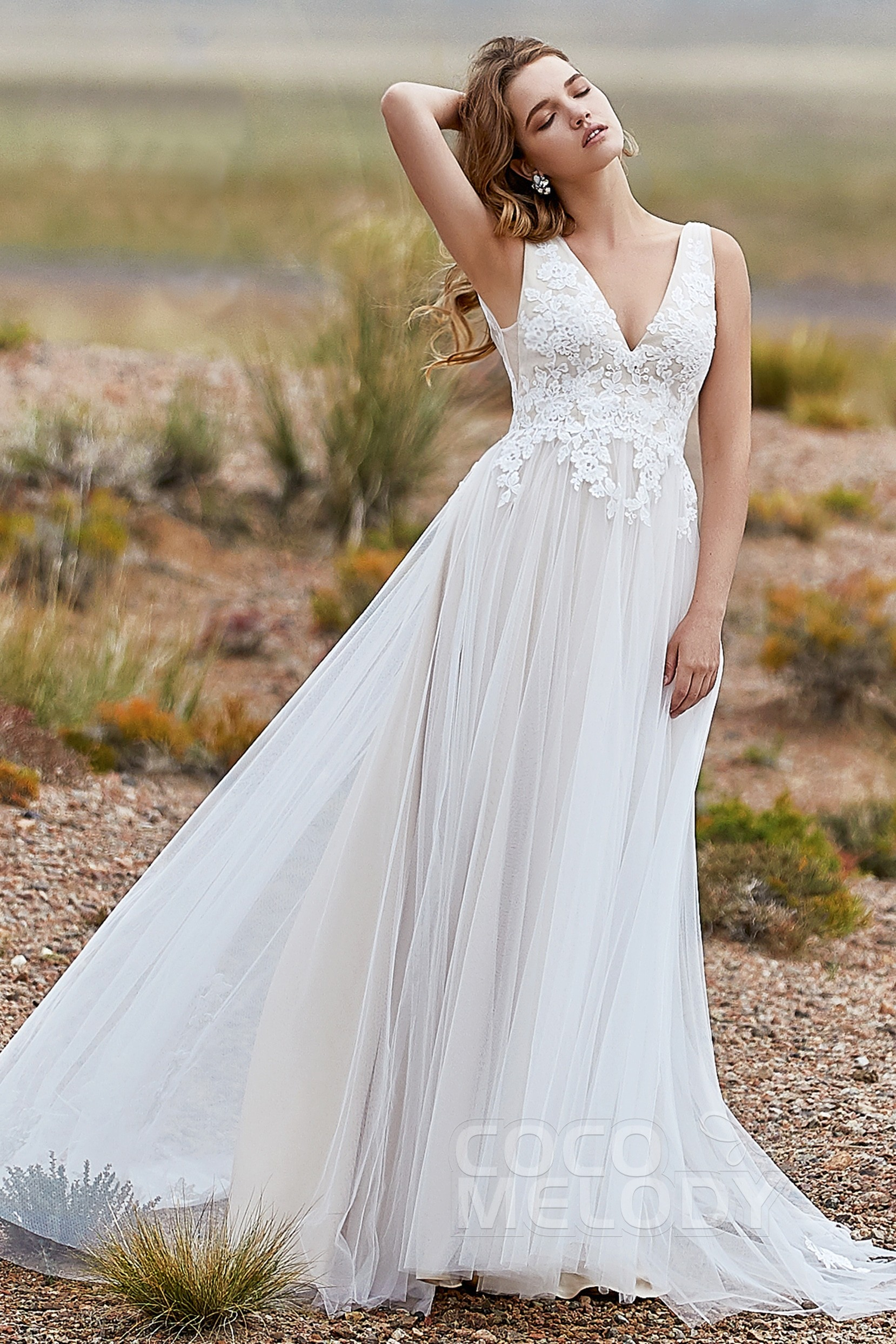 2ec19b0e188 Try at Home Chic Sweep-Brush Train Wedding Dress with Appliques ...
