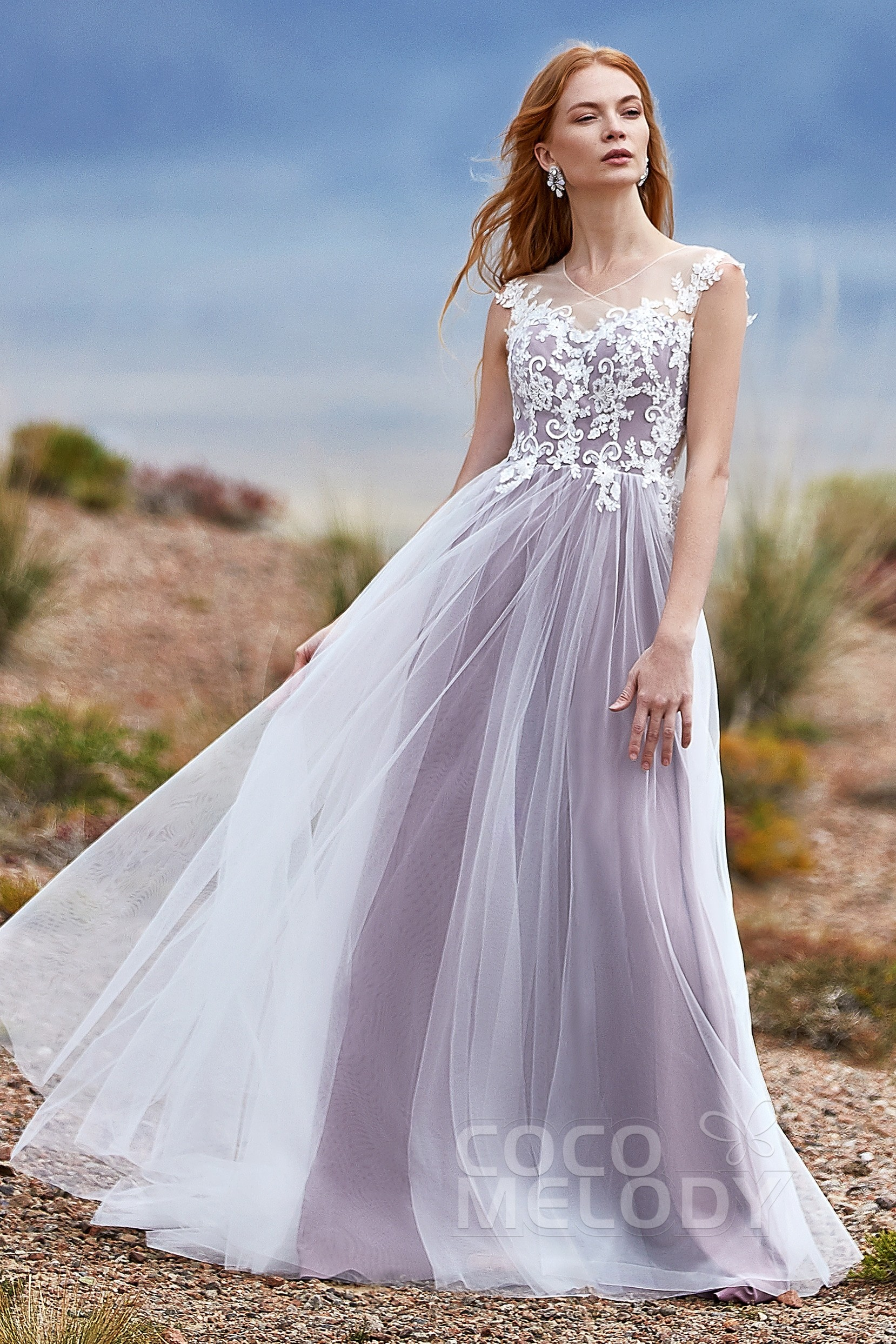 255f441c416d A-Line Natural Tulle Sleeveless Wedding Dress LD5846 | Cocomelody