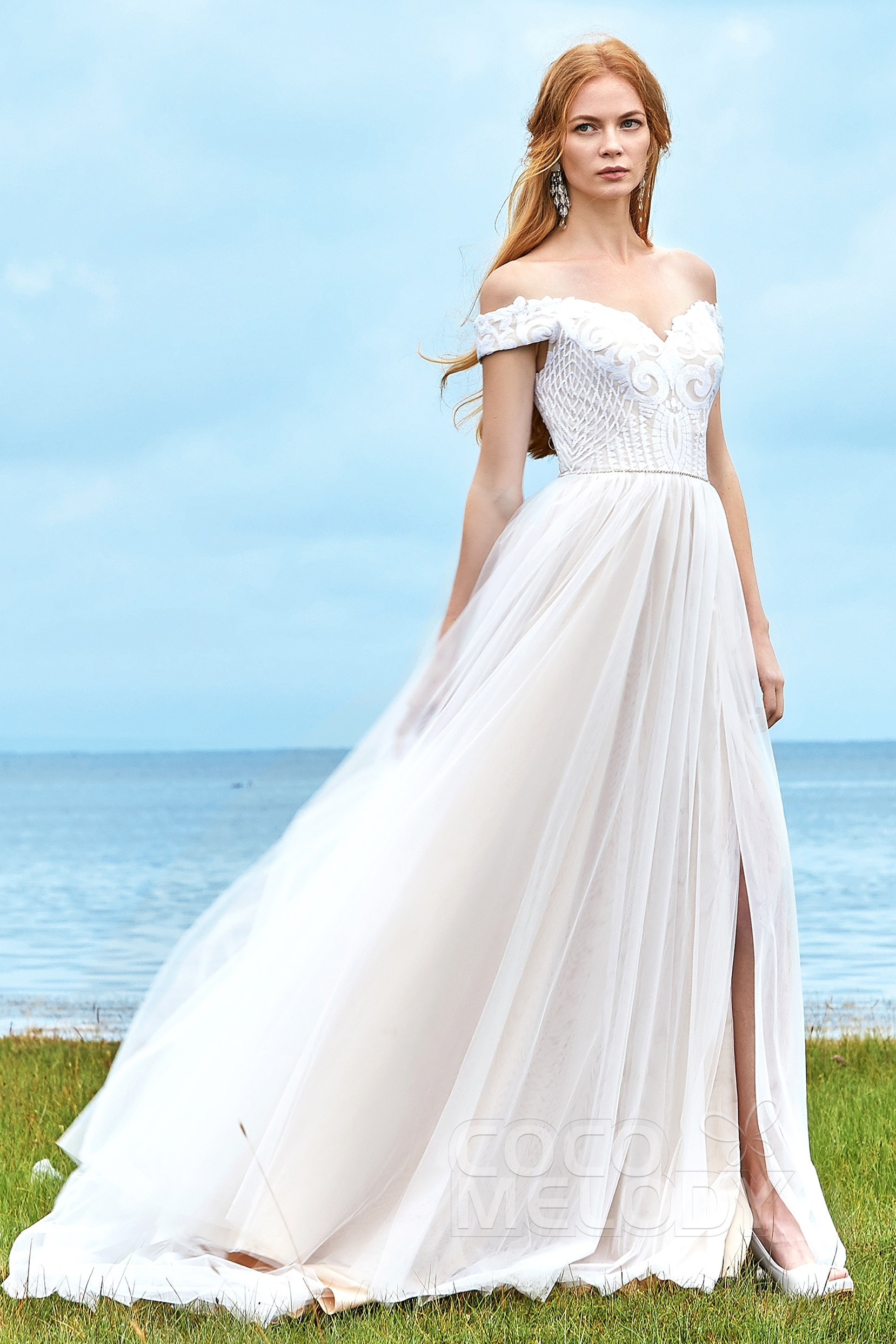 54869806fb A-Line Court Train Sequined Lace Wedding Dress LD5868 | Cocomelody