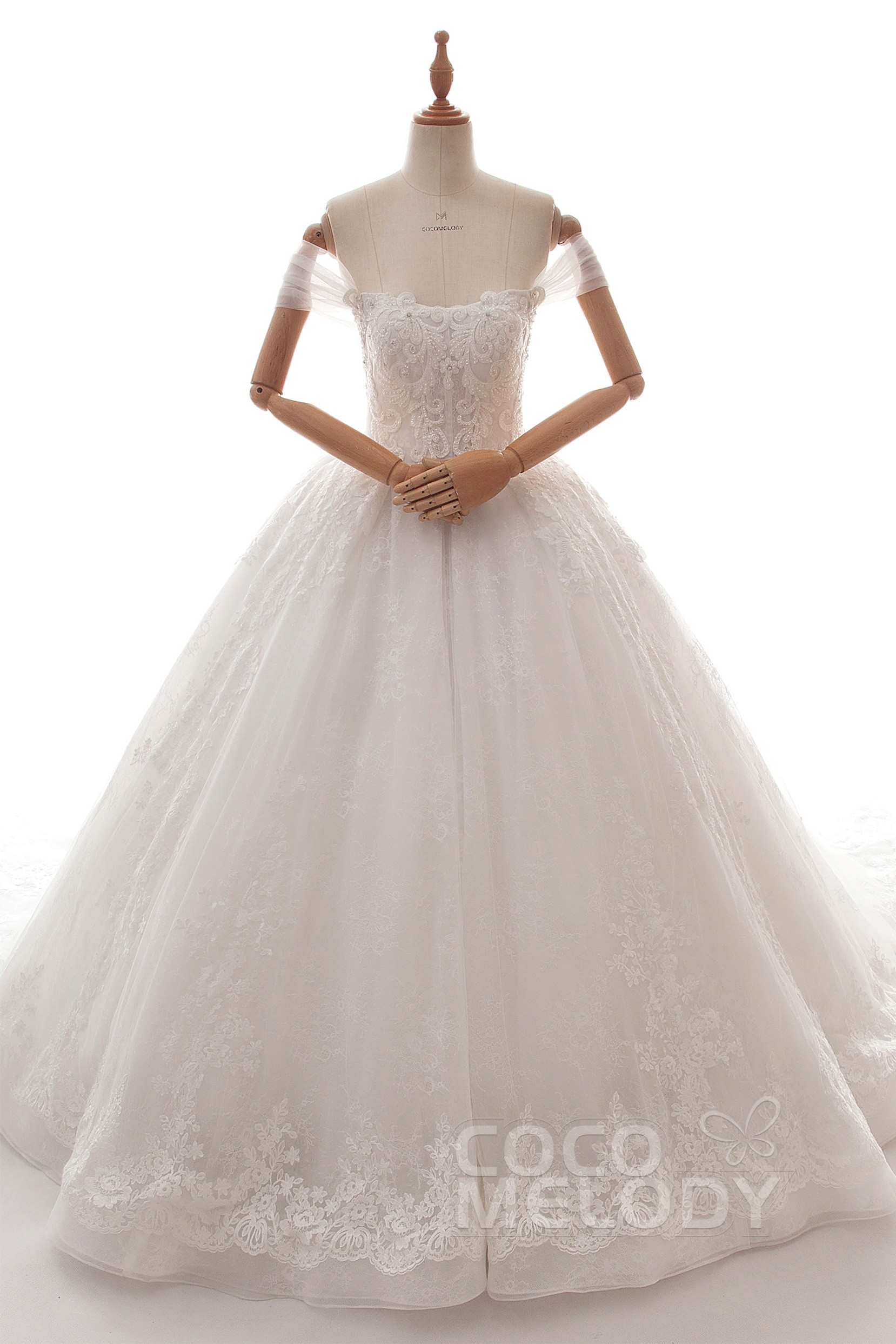 ee0743b034 Ball Gown Cathedral Train Tulle and Lace Wedding Dress LD5883
