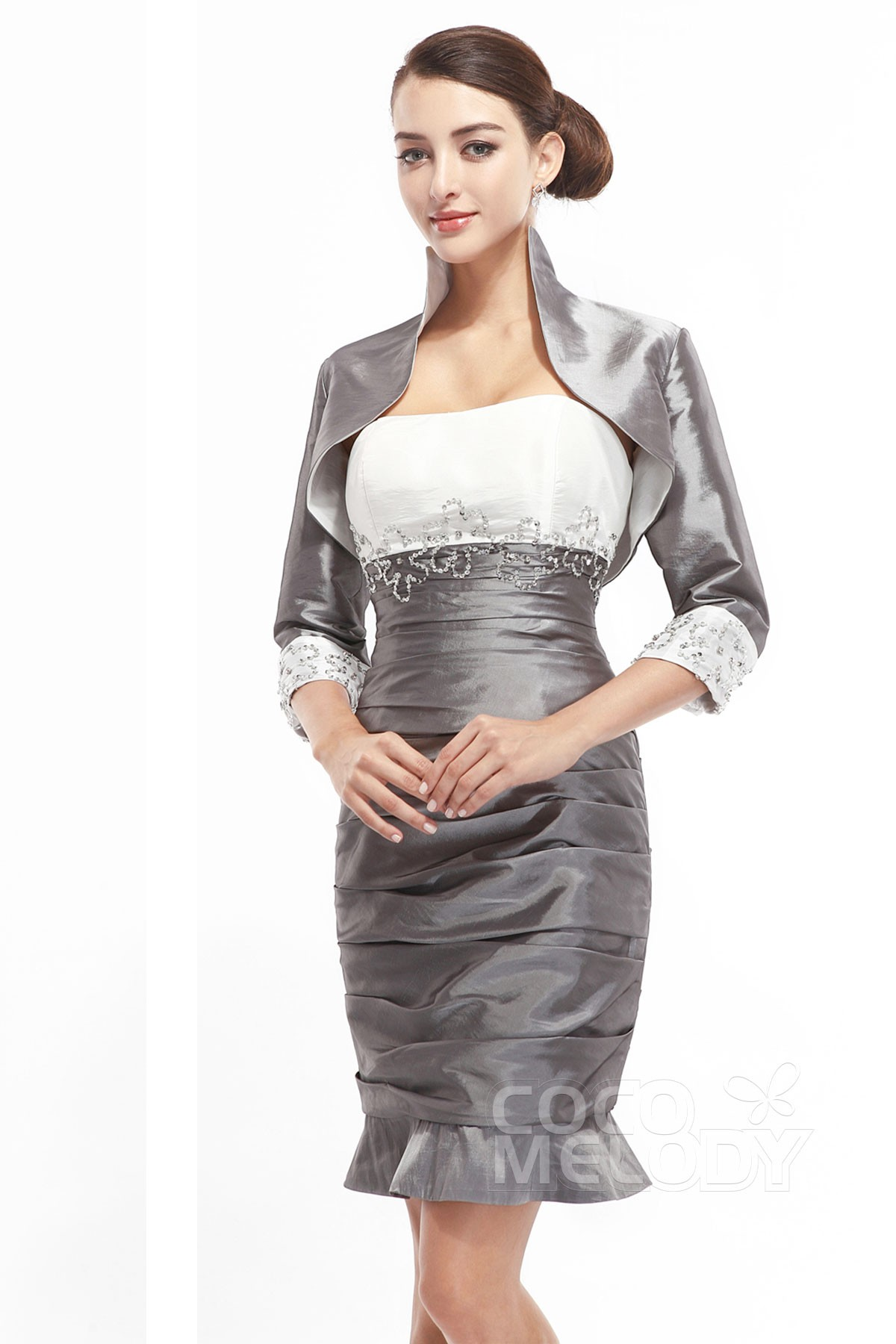 4d25efca2e7 Hot Sale Sheath Column Bateau Short Mini Silver Taffeta Mother Of The Bride  Dress COZM1400B