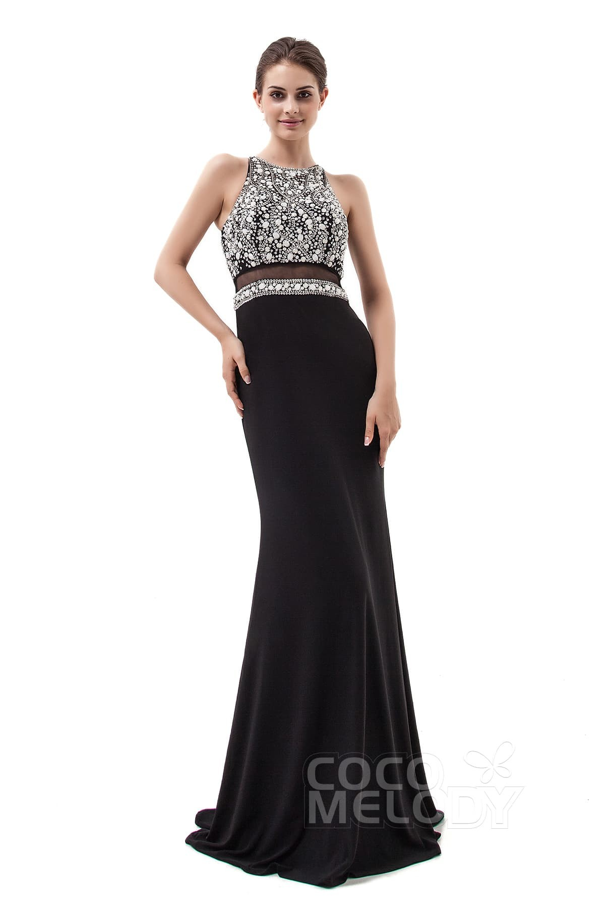 Trumpet-Mermaid Floor Length Knitted Fabric Dress PR3439   Cocomelody