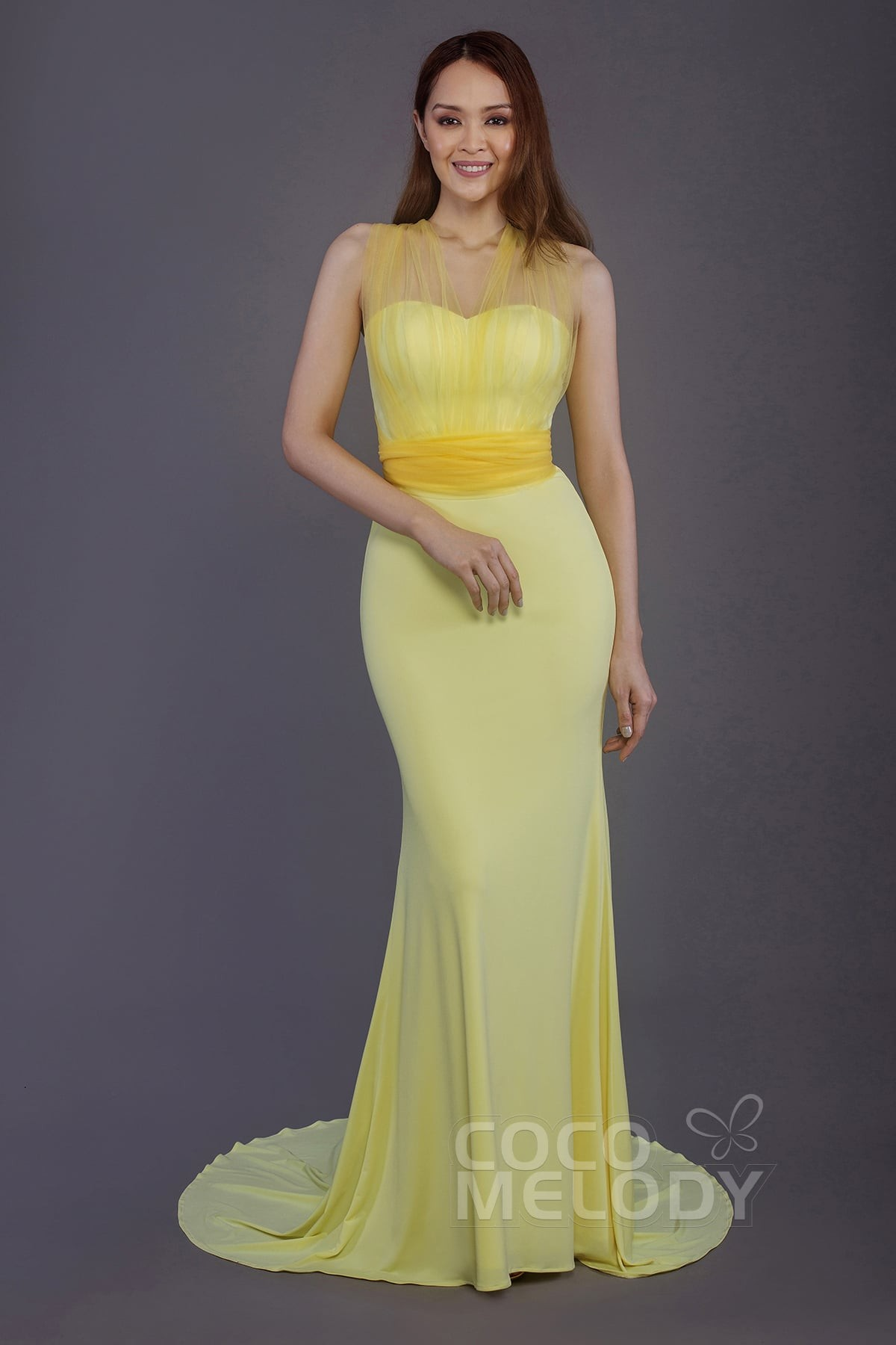 1ddd0b1a0 Trumpet-Mermaid Court Train Knitted Fabric and Tulle Bridesmaid Dress PR3498