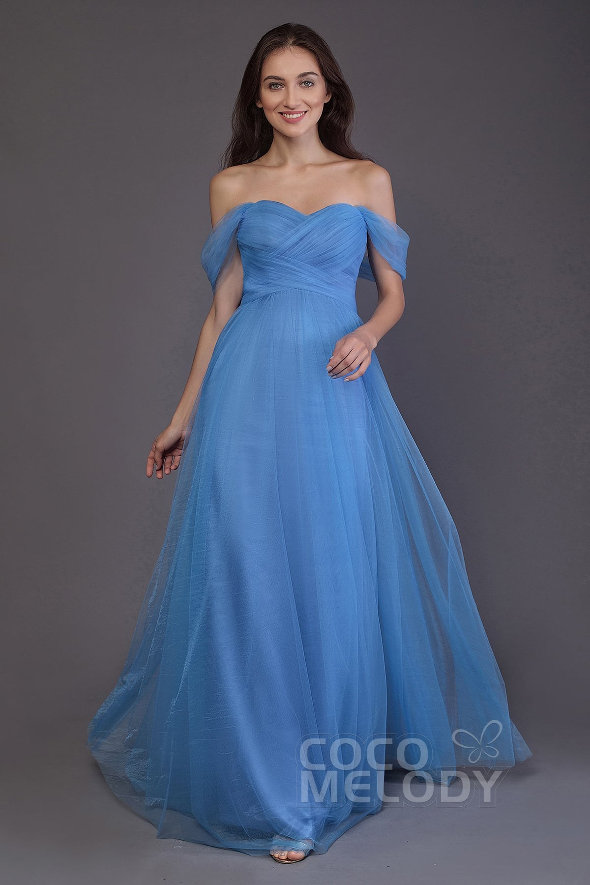 Cocomelody: Sheath-Column Off The Shoulder Tulle Floor Length Dress ...