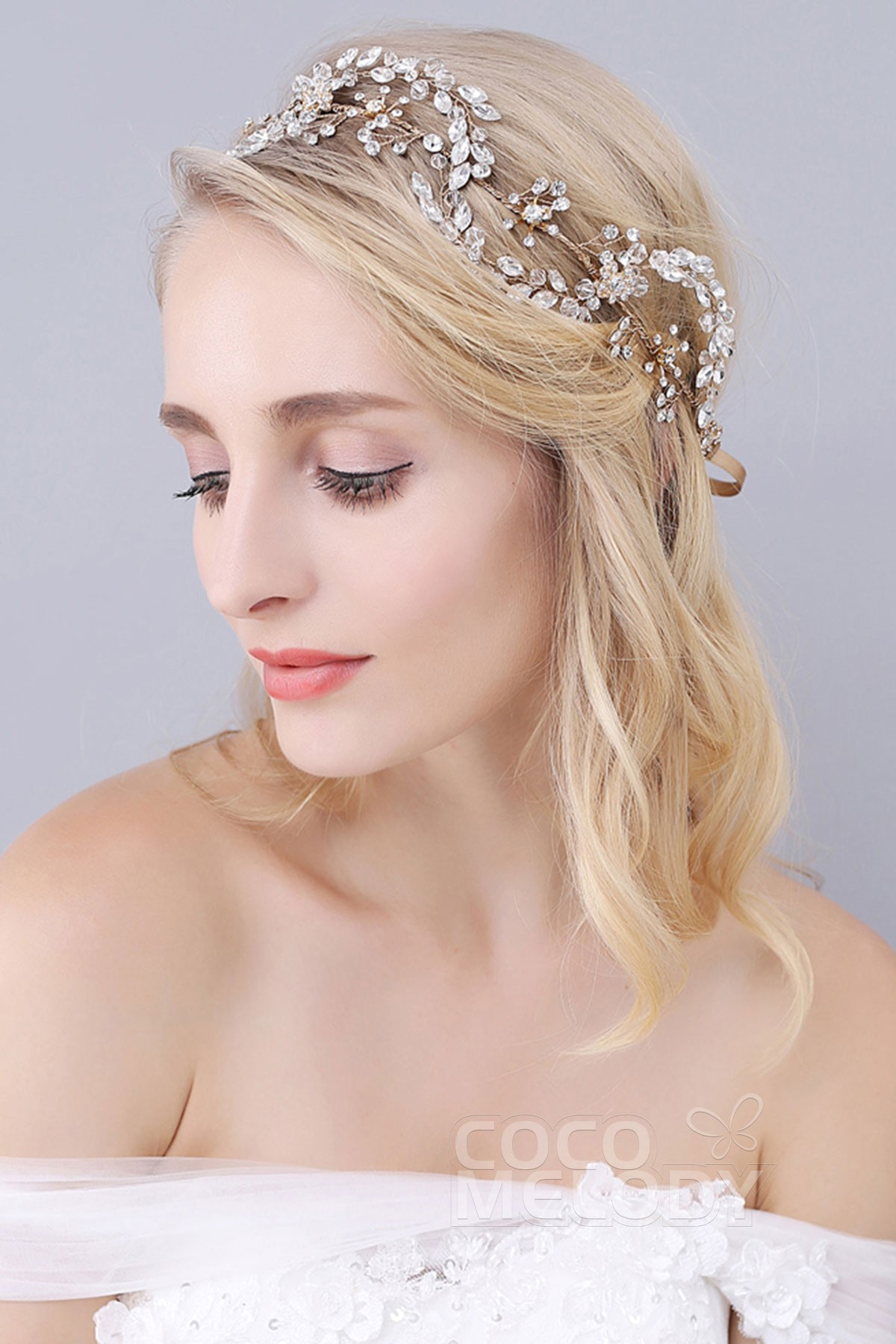 cocomelody: gold alloy wedding headbands with rhinestone and crystal