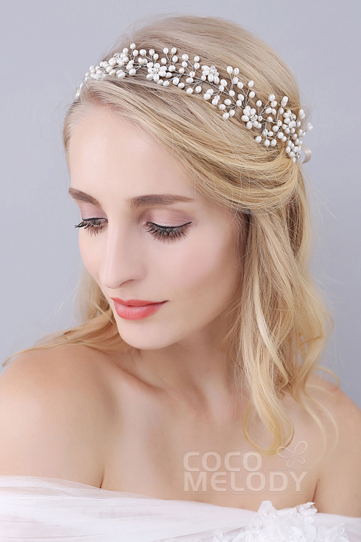 cocomelody: silver cloud alloy wedding headbands with rhinestone and