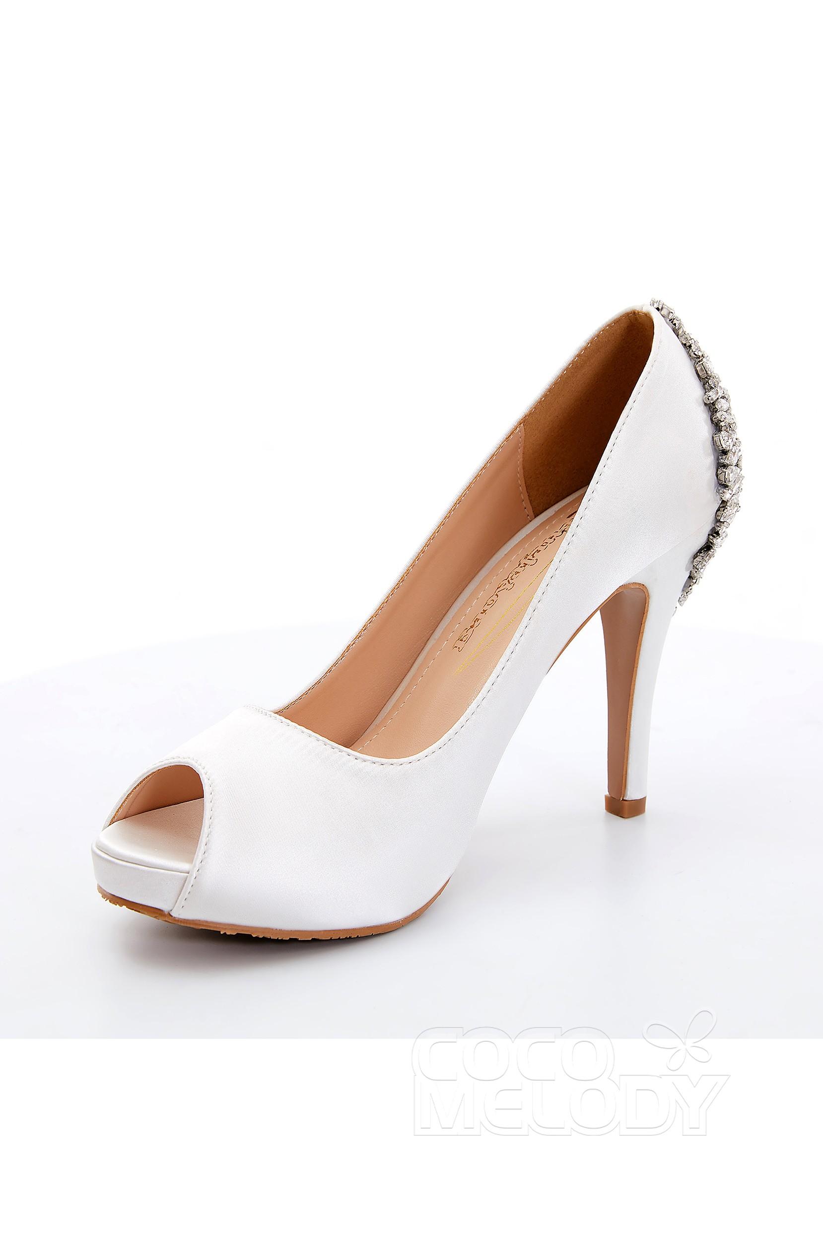 d42834c0ac0 Stiletto Heel 10.5cm Heel 1.5cm Platform Satin Rhinestone Peep Toe Bridal  Shoes SWS18001
