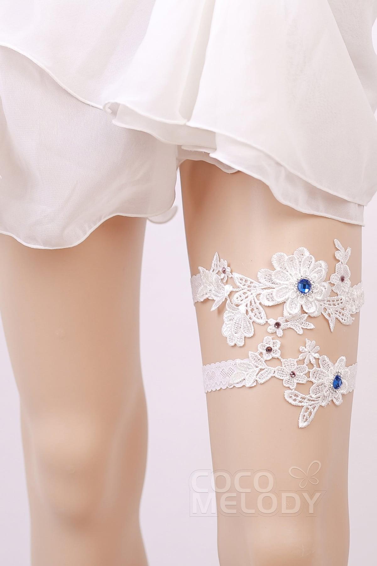 Lace Wedding Garter With Diamond Wd17015