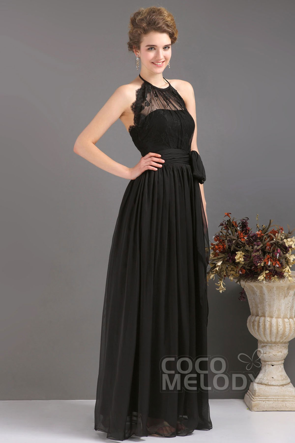 Sheath-Column Halter Floor Length Chiffon Dress COUF13007 | Cocomelody