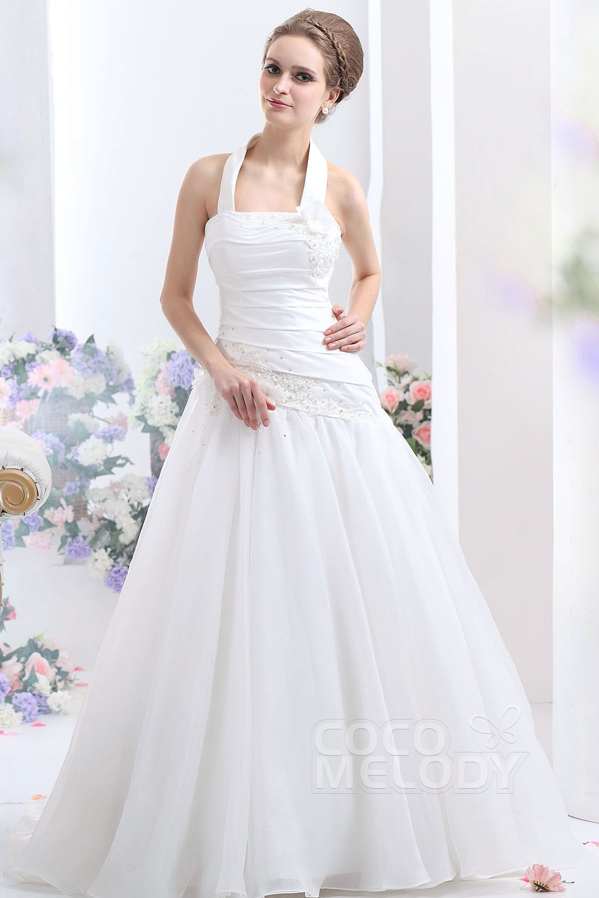 A-Line Dropped Court Train Organza Wedding Dress CWLT1308A | Cocomelody