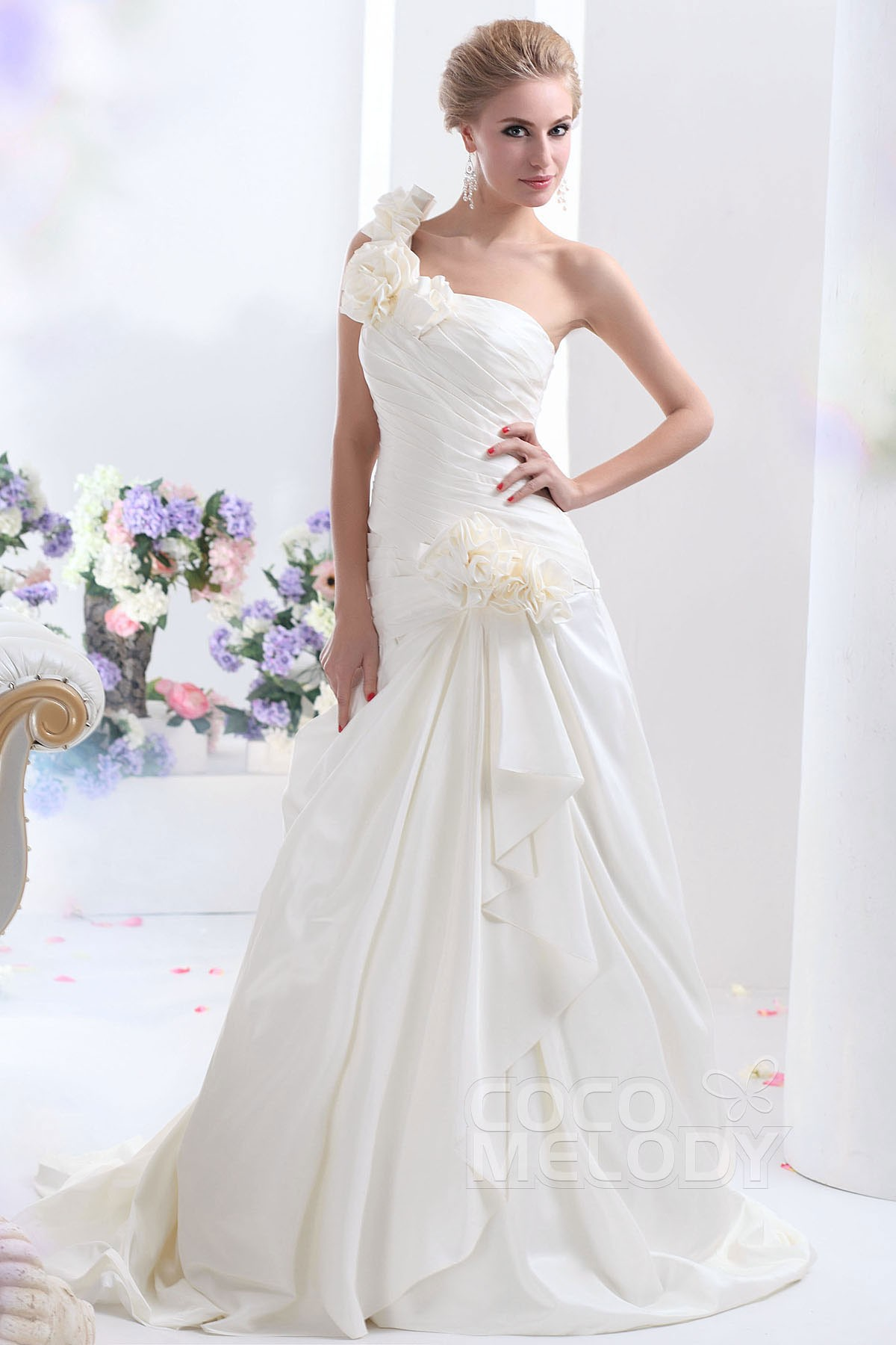 Cocomelody a line one shoulder dropped court train taffeta wedding a line court train taffeta wedding dress cwlt13088 junglespirit Gallery