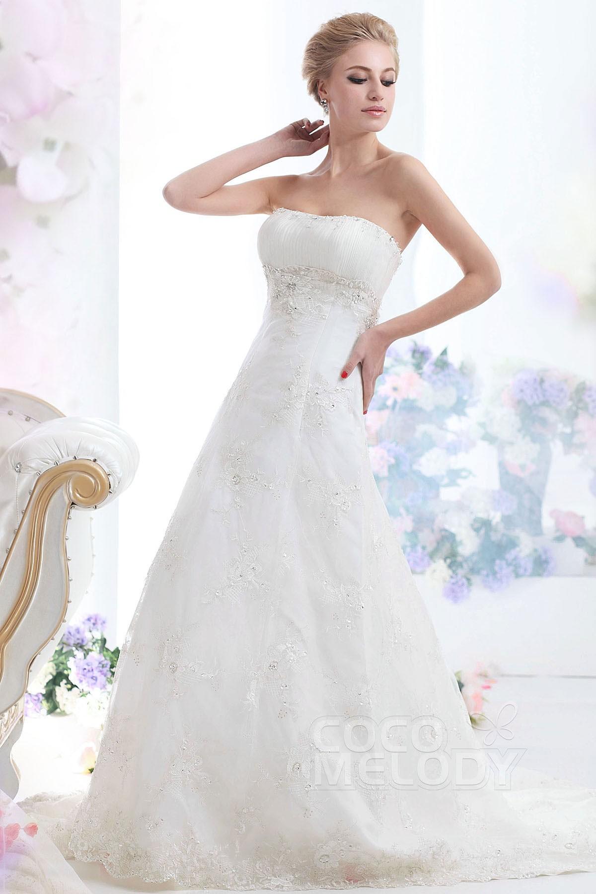 Cocomelody: Sheath-Column Strapless Chapel Train Lace Wedding Dress ...
